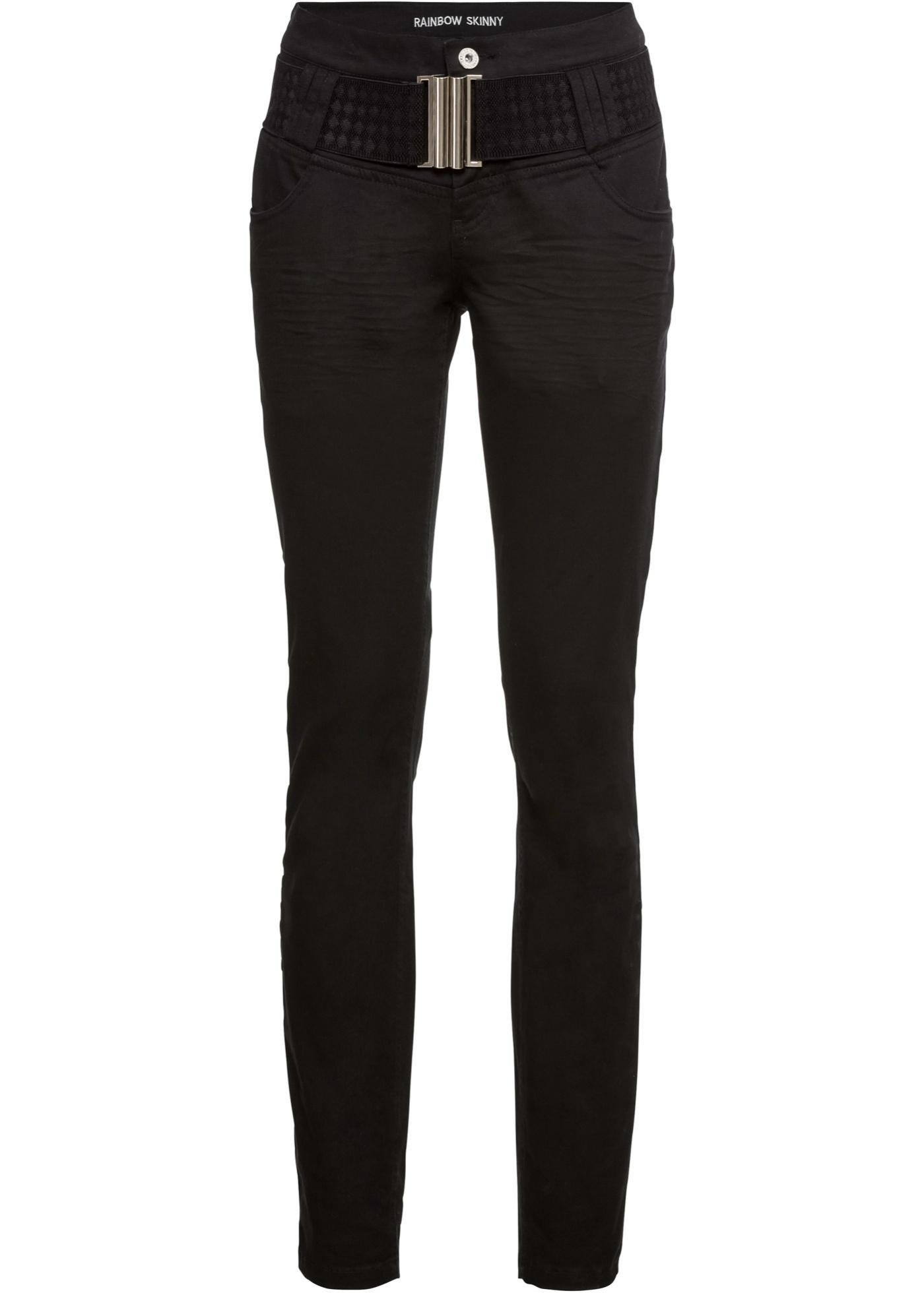 Damen bonprix Skinny Jeans mit Gürtel blau, schwarz   06937251299669