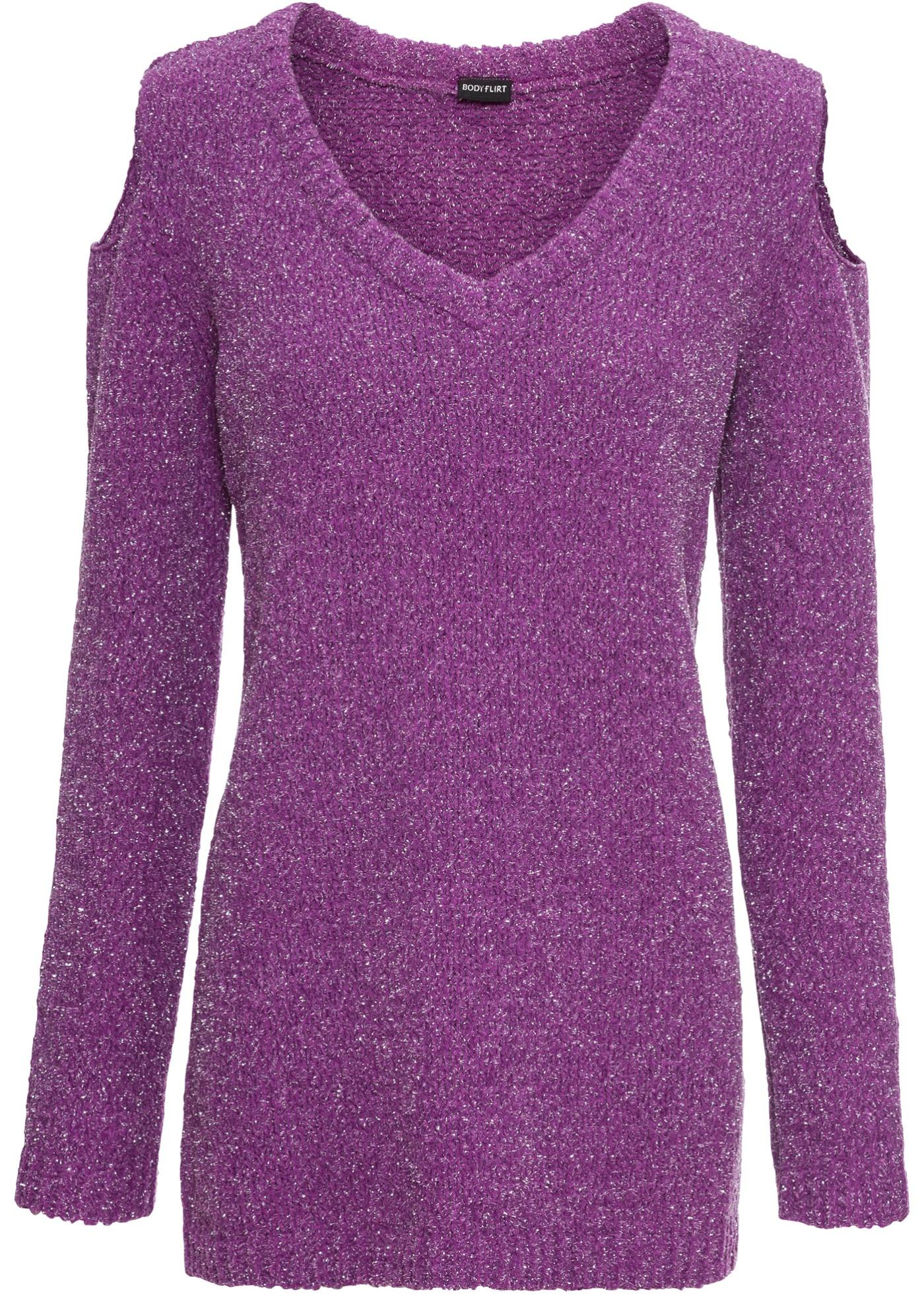 Chenille-Pullover mit Lurex langarm  in lila für Damen von bonprix