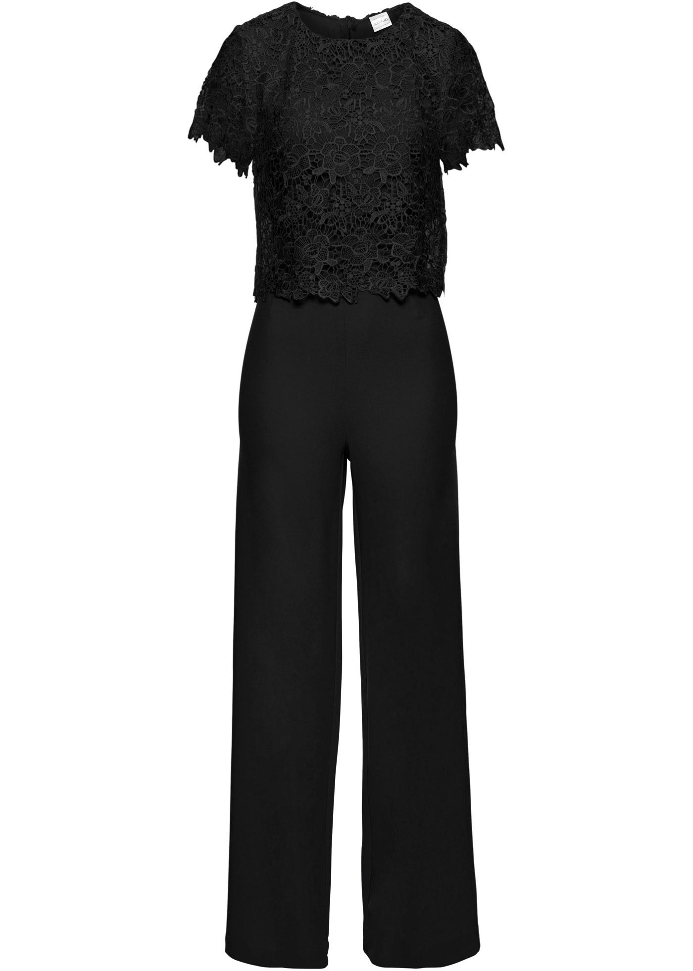 Hosen - Jumpsuit mit Spitze › bonprix › schwarz  - Onlineshop Bonprix