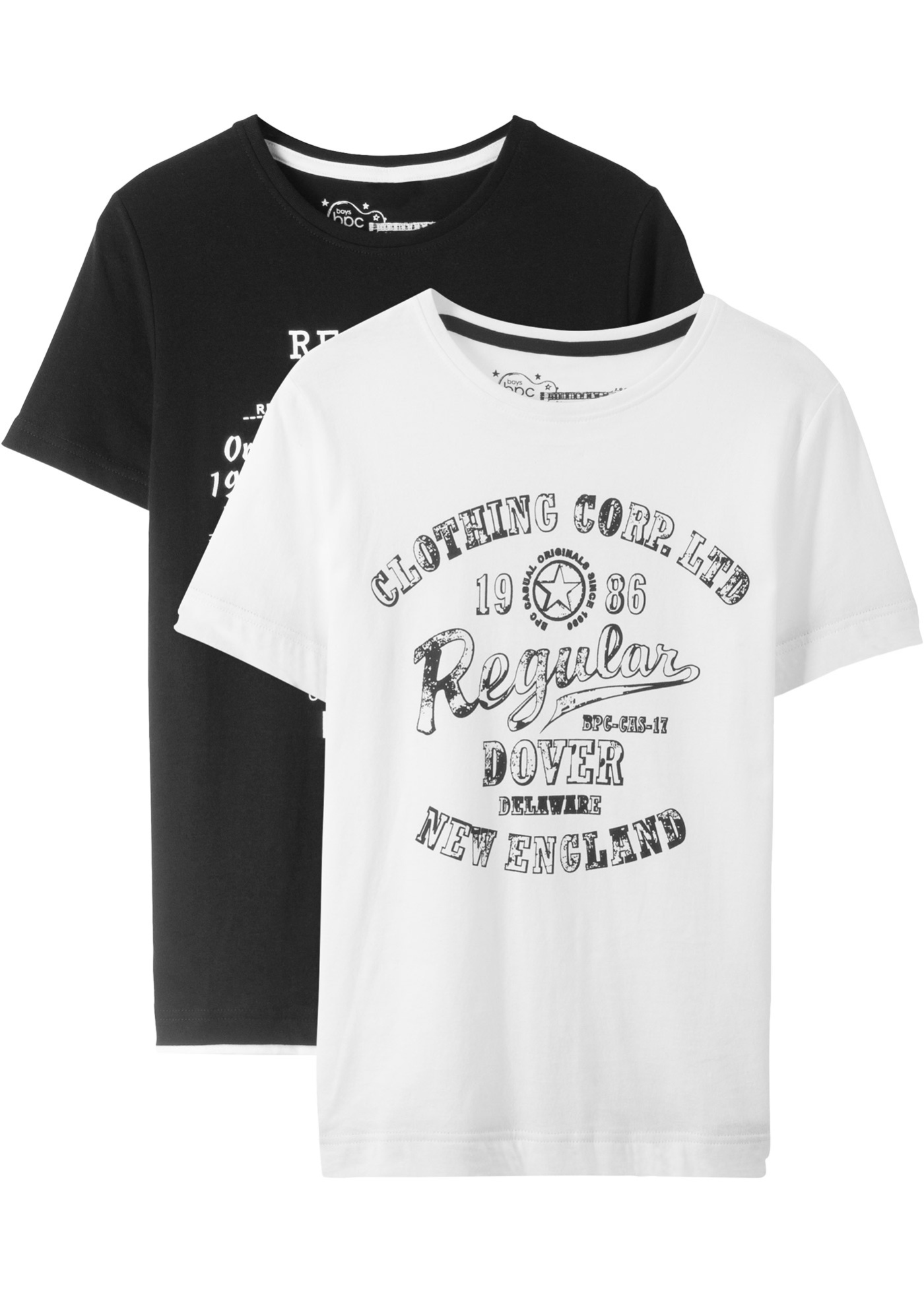 T-Shirt (2er-Pack) kurzer Arm  in schwarz für Jungen von bonprix