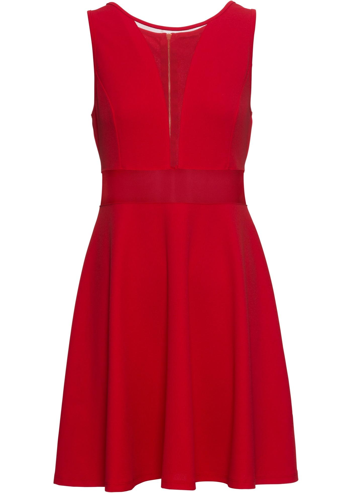 Shirtkleid mit transparenten Einsätzen ohne Ärmel  in rot für Damen von bonprix