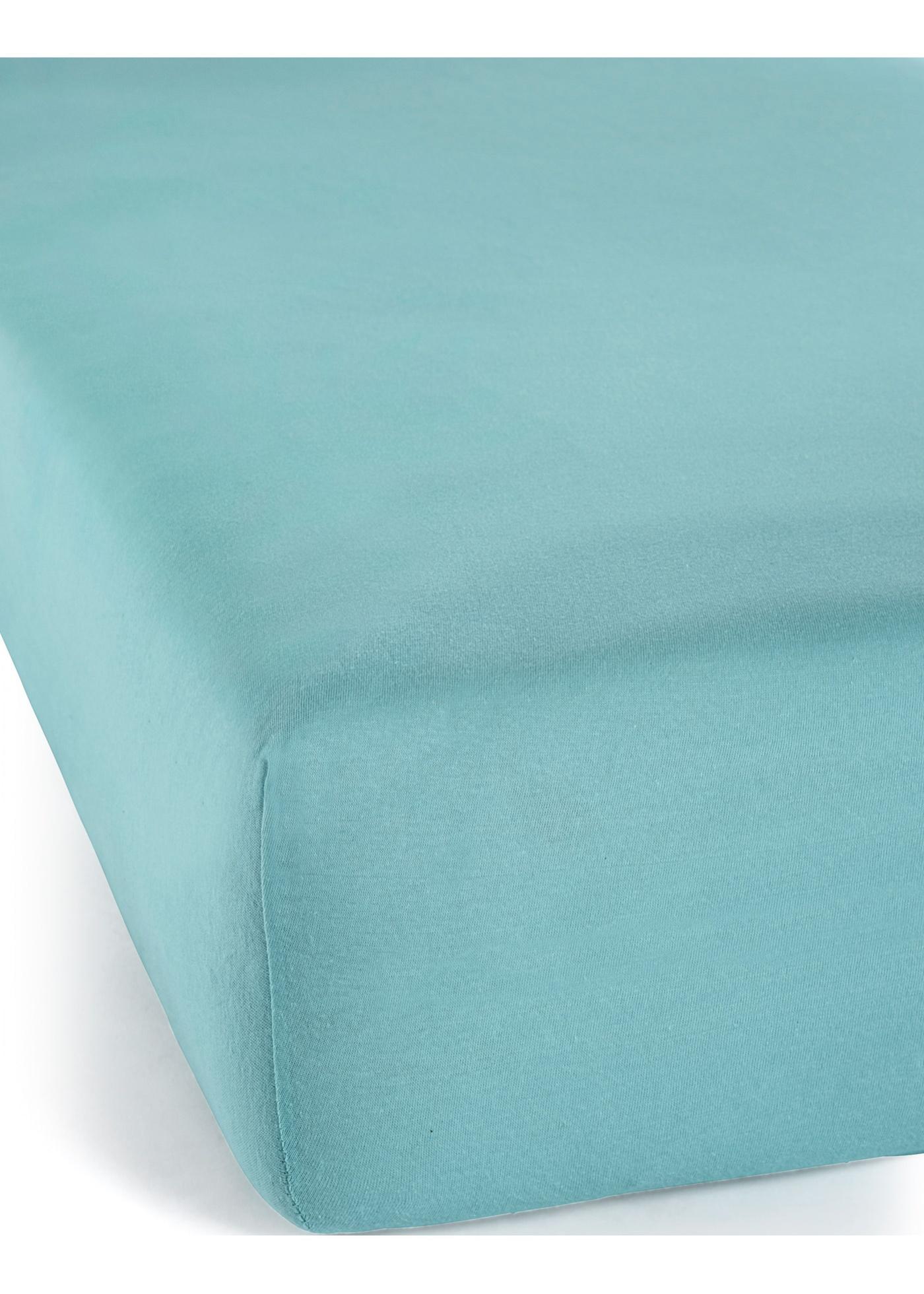 Jersey Spannbettlaken in blau von bonprix