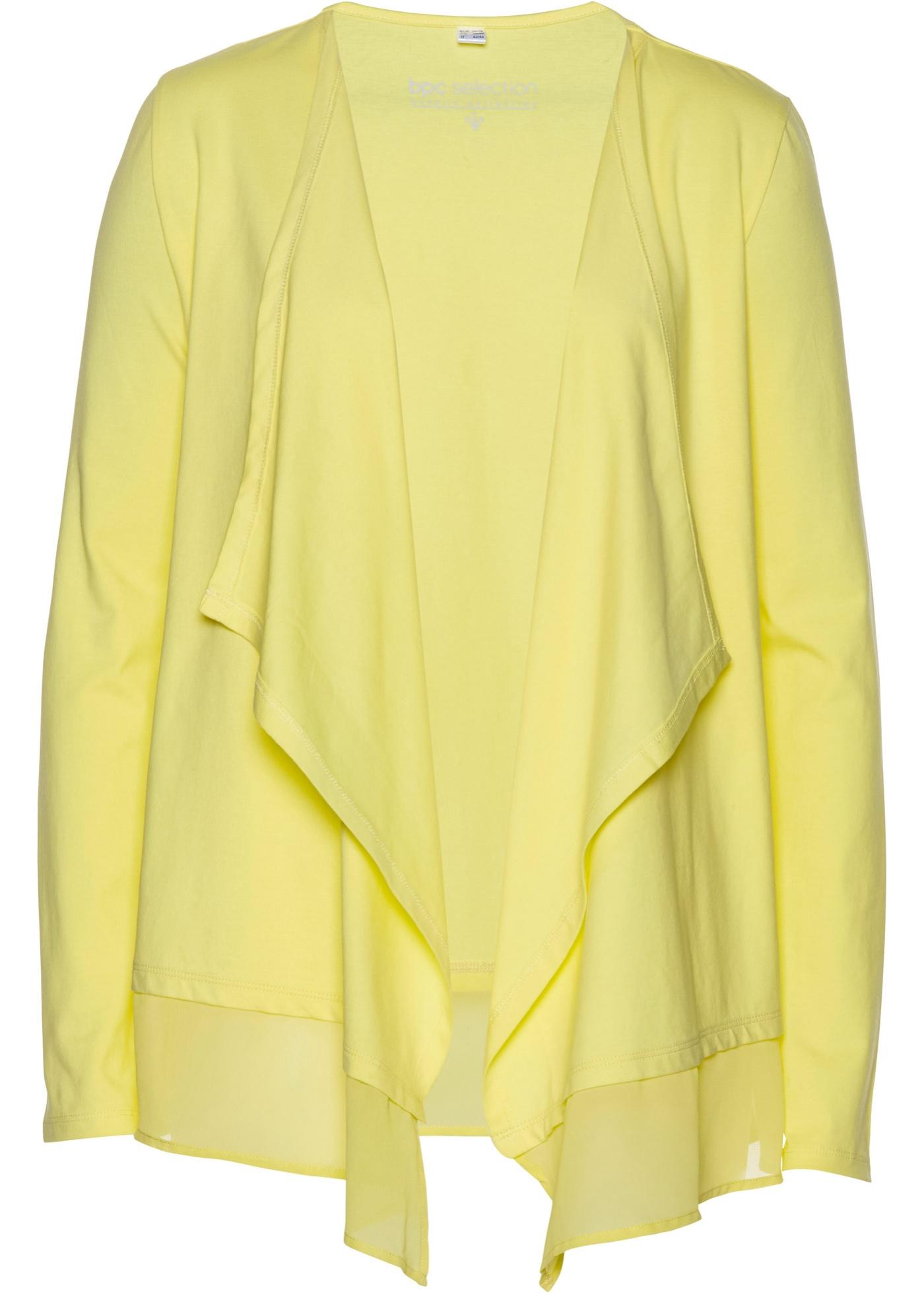 Shirtjacke mit Chiffon langarm  in gelb für Damen von bonprix