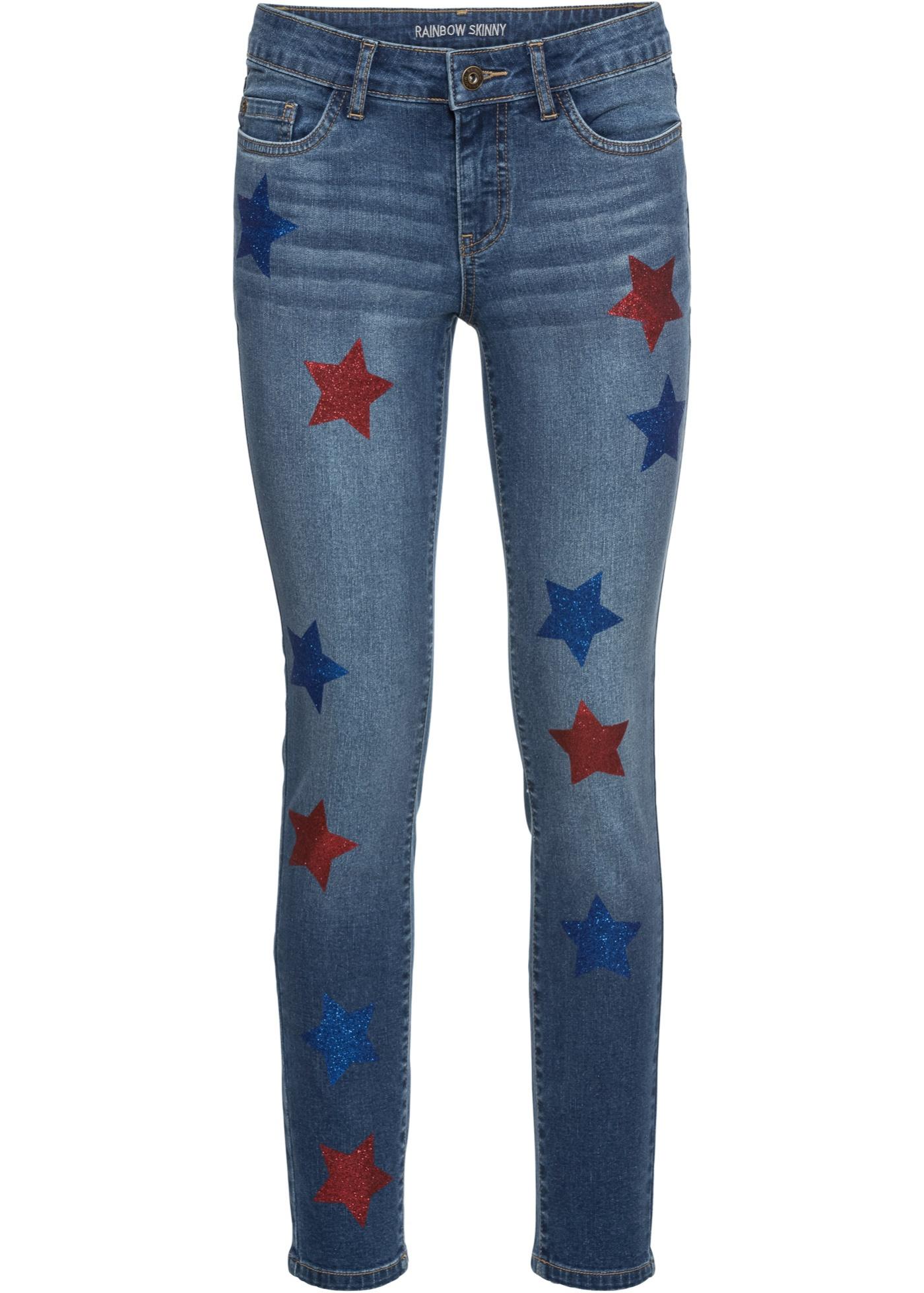Hosen - Verkürzte Skinny Jeans mit Sternen › bonprix › blau  - Onlineshop Bonprix