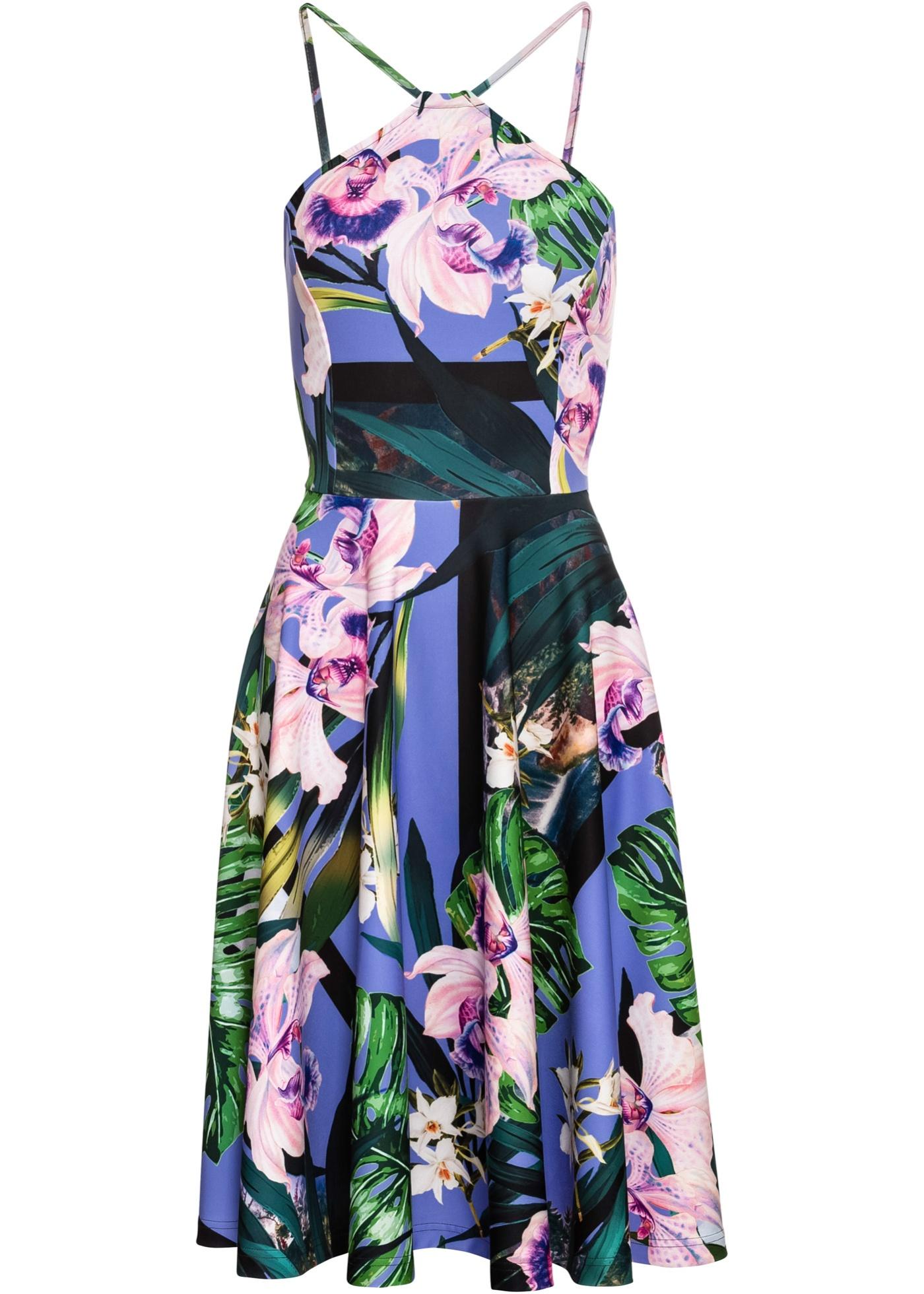 Kleid mit Blumen ohne Ärmel  in blau für Damen von bonprix