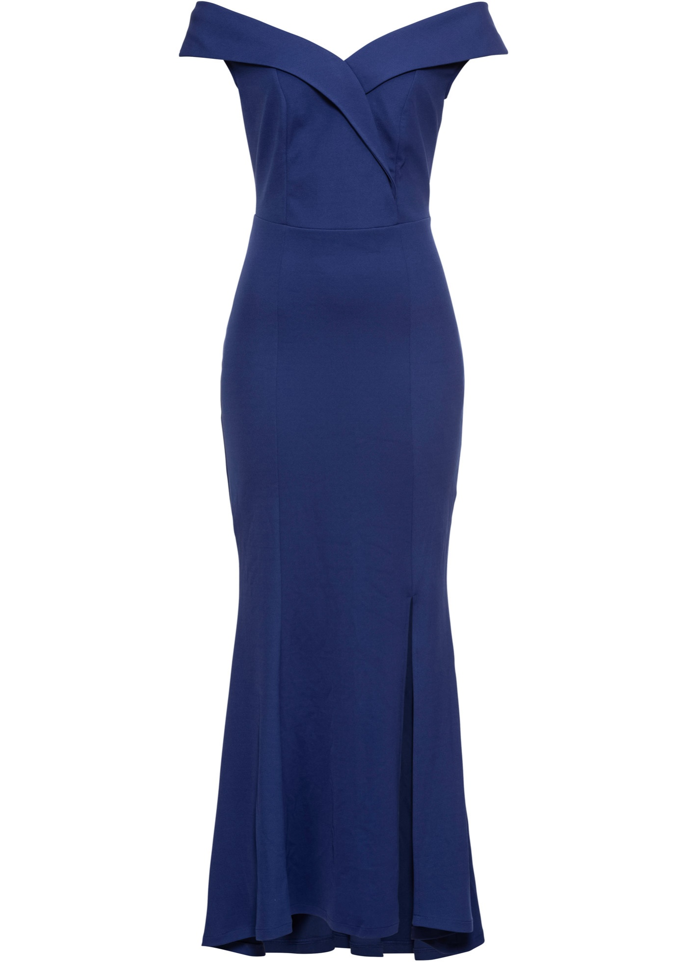 Abendkleid kurzer Arm  in blau (Carmen-Ausschnitt) für Damen von bonprix