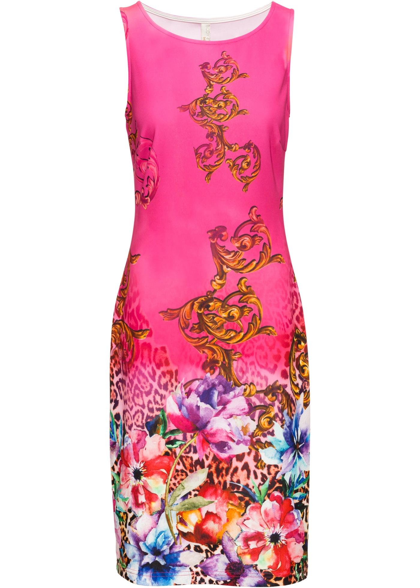Kleid mit Print ohne Ärmel  in pink für Damen von bonprix