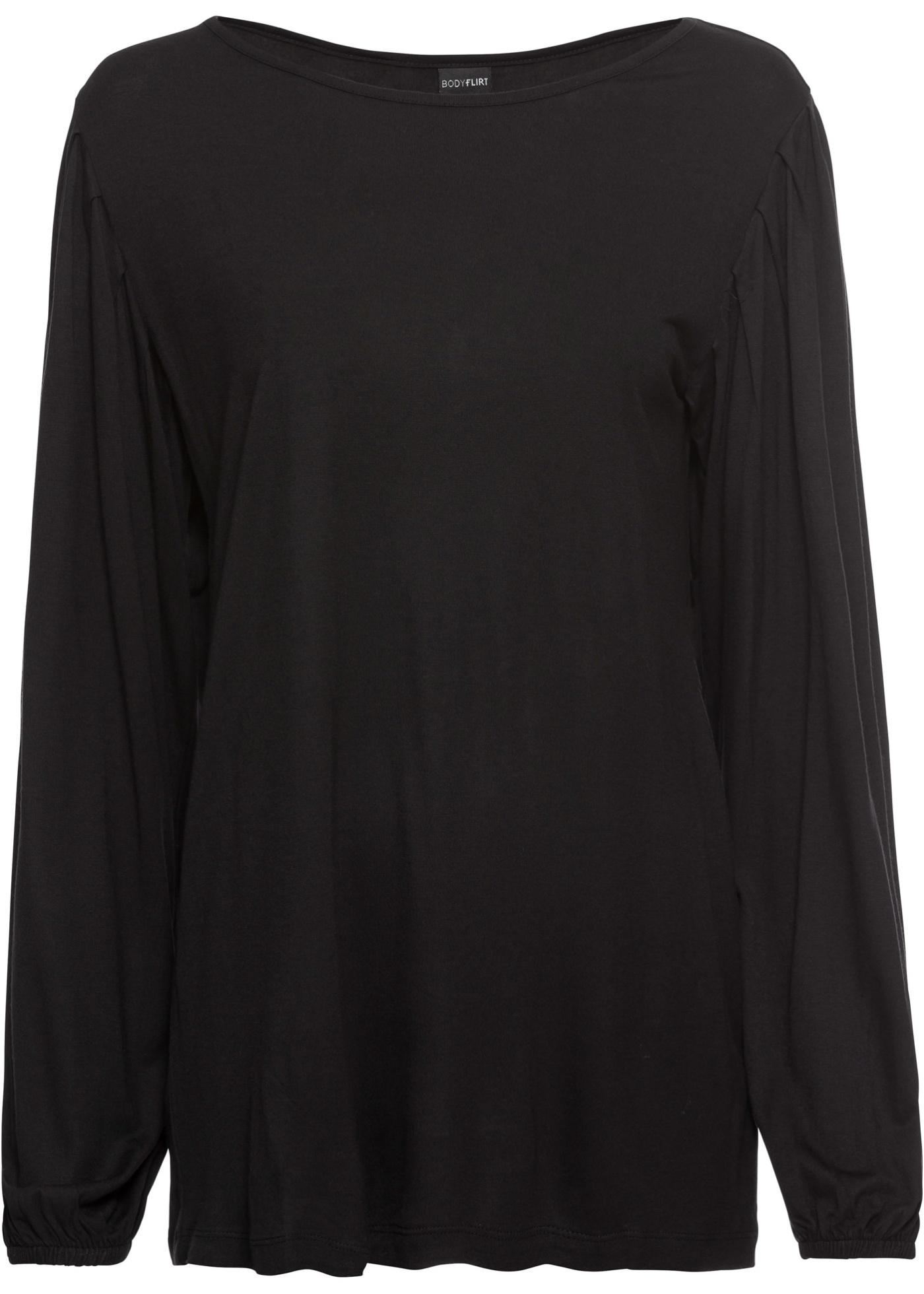 Shirt mit Ballonärmeln langarm  in schwarz für Damen von bonprix