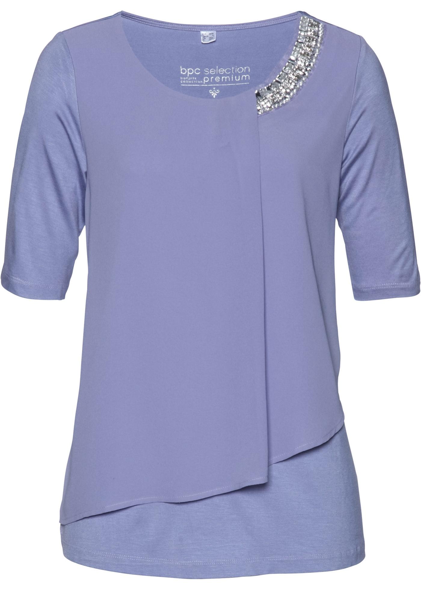 Premium Shirt mit Web-Volants kurzer Arm  in lila für Damen von bonprix