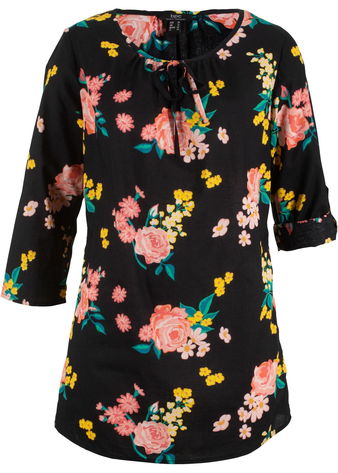 Blusentunika mit Blumendruck 3/4 Arm  in schwarz für Damen von bonprix