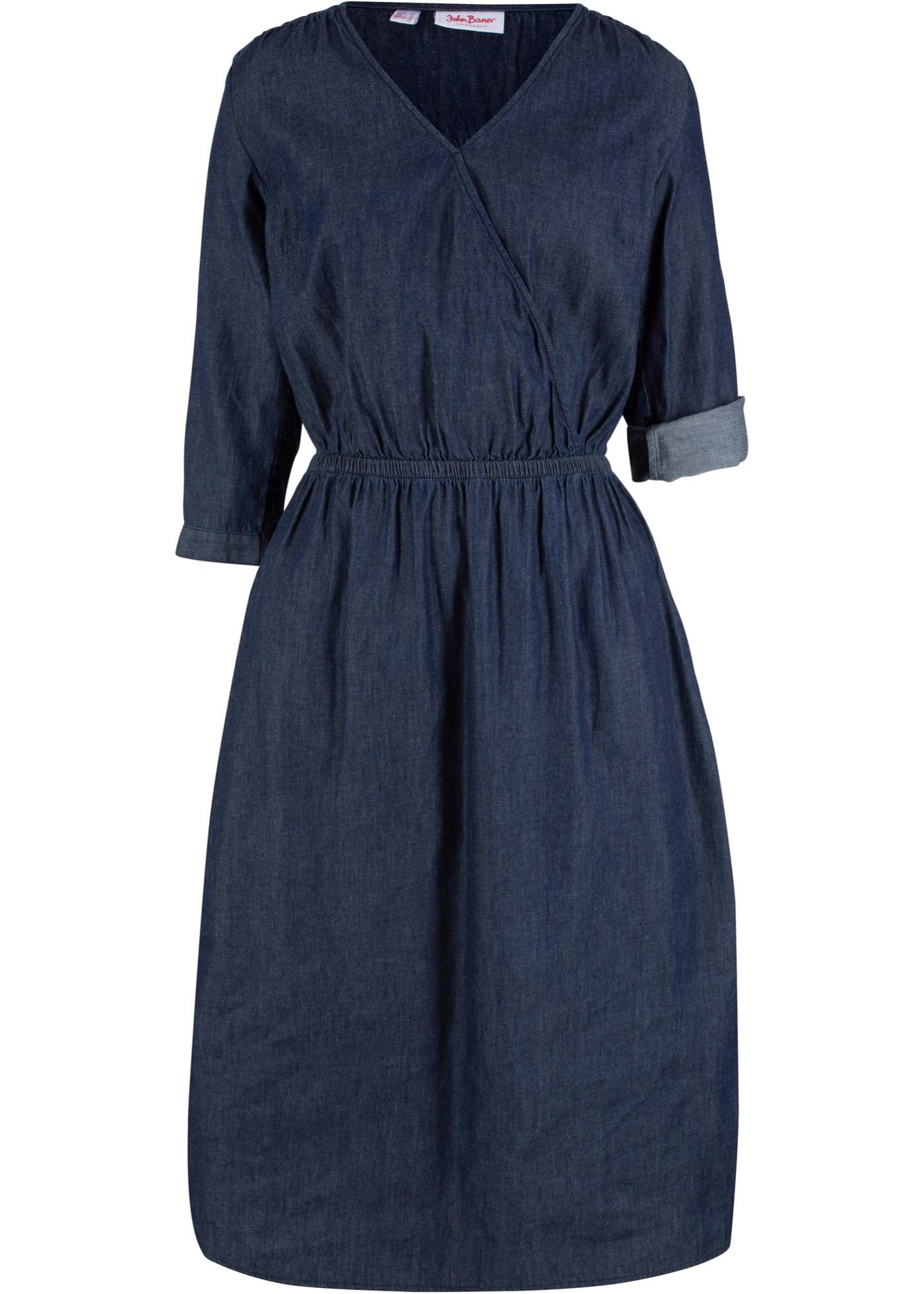 Jeanskleid in Wickeloptik, 3/4 Arm in blau für Damen von bonprix