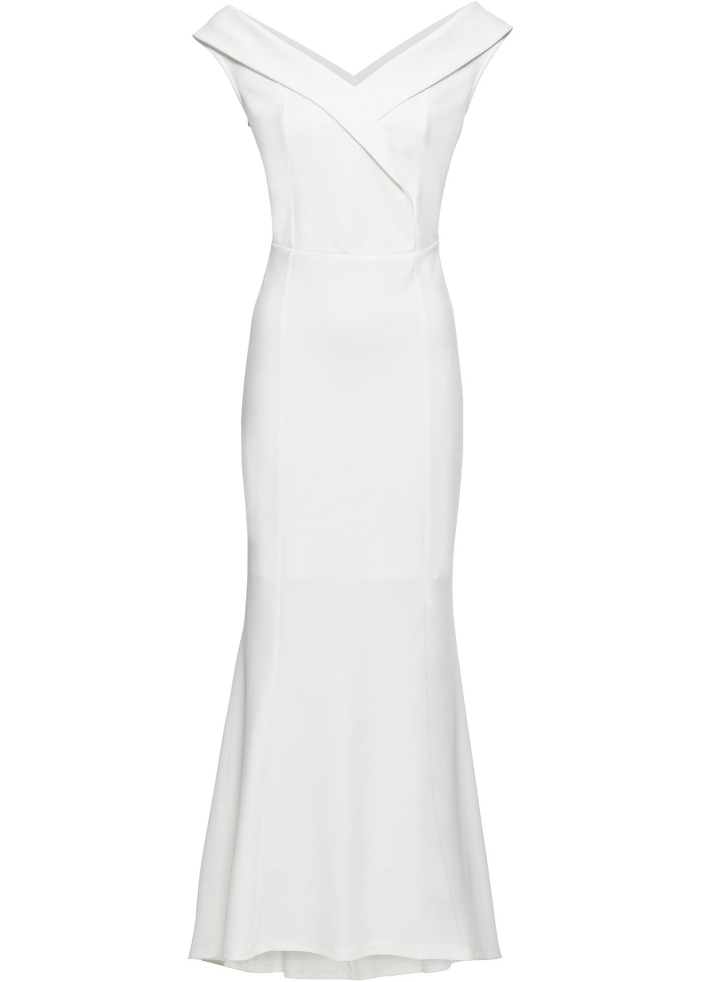 Abendkleid kurzer Arm  in weiß (Carmen-Ausschnitt) für Damen von bonprix