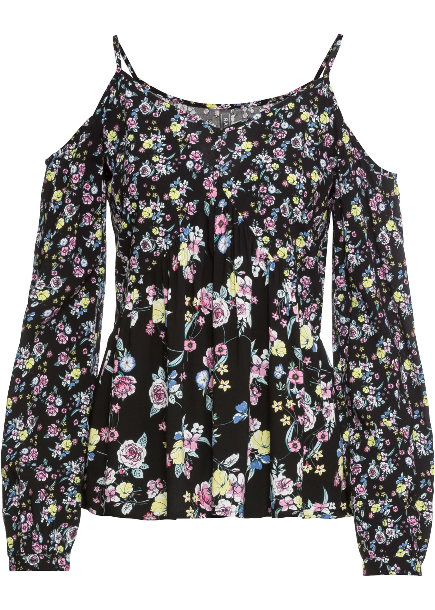 Cold-Shoulder-Bluse langarm  in schwarz für Damen von bonprix