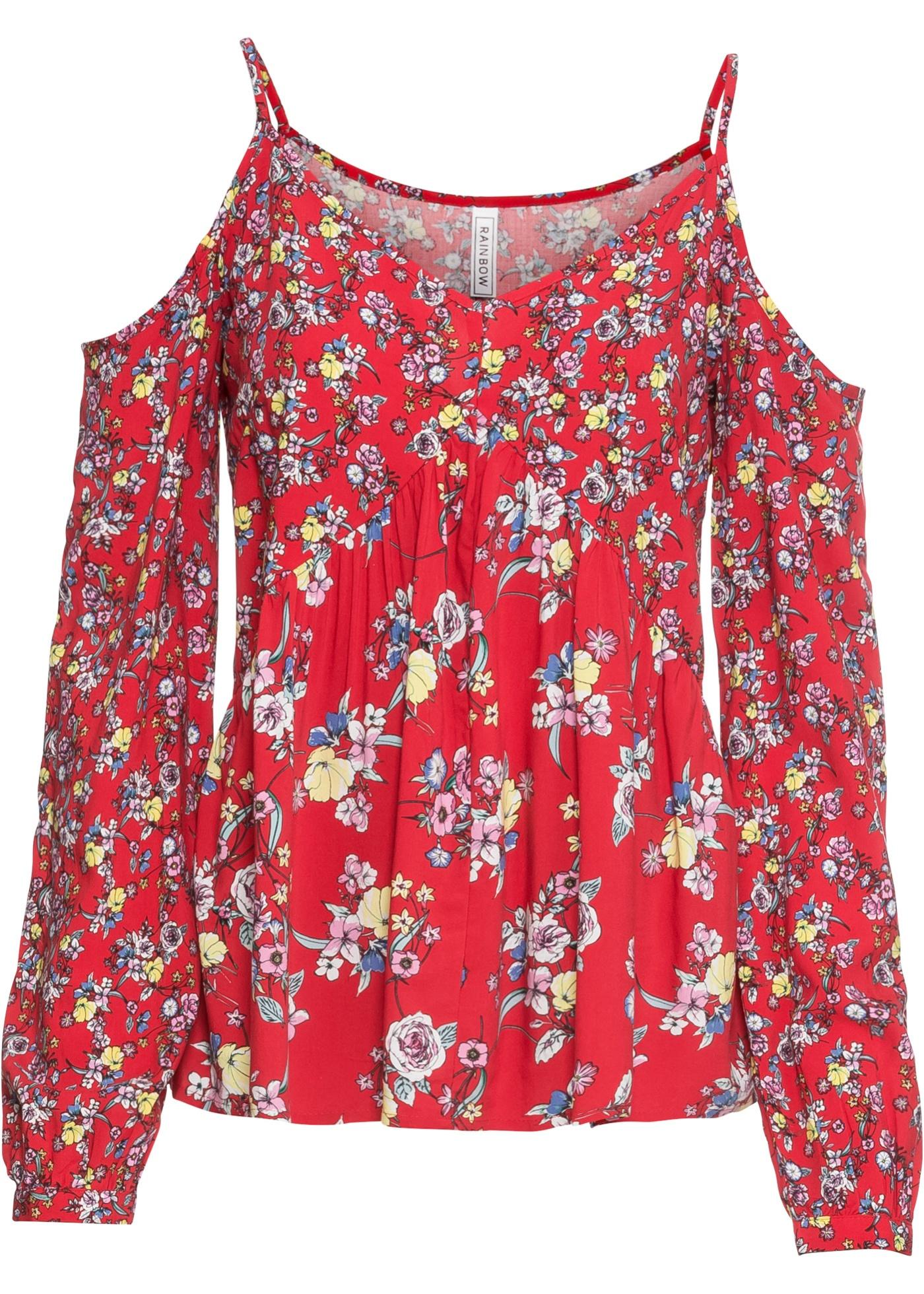 Cold-Shoulder-Bluse langarm  in rot für Damen von bonprix