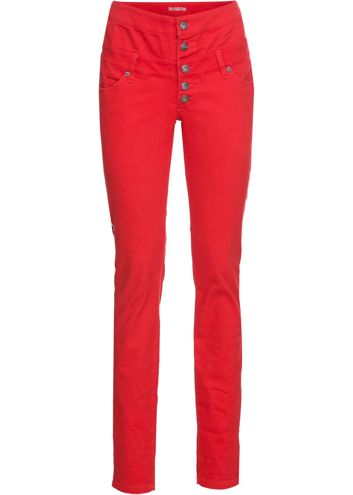 Stretch-Hose mit seitlichem Streifen in rot für Damen von bonprix