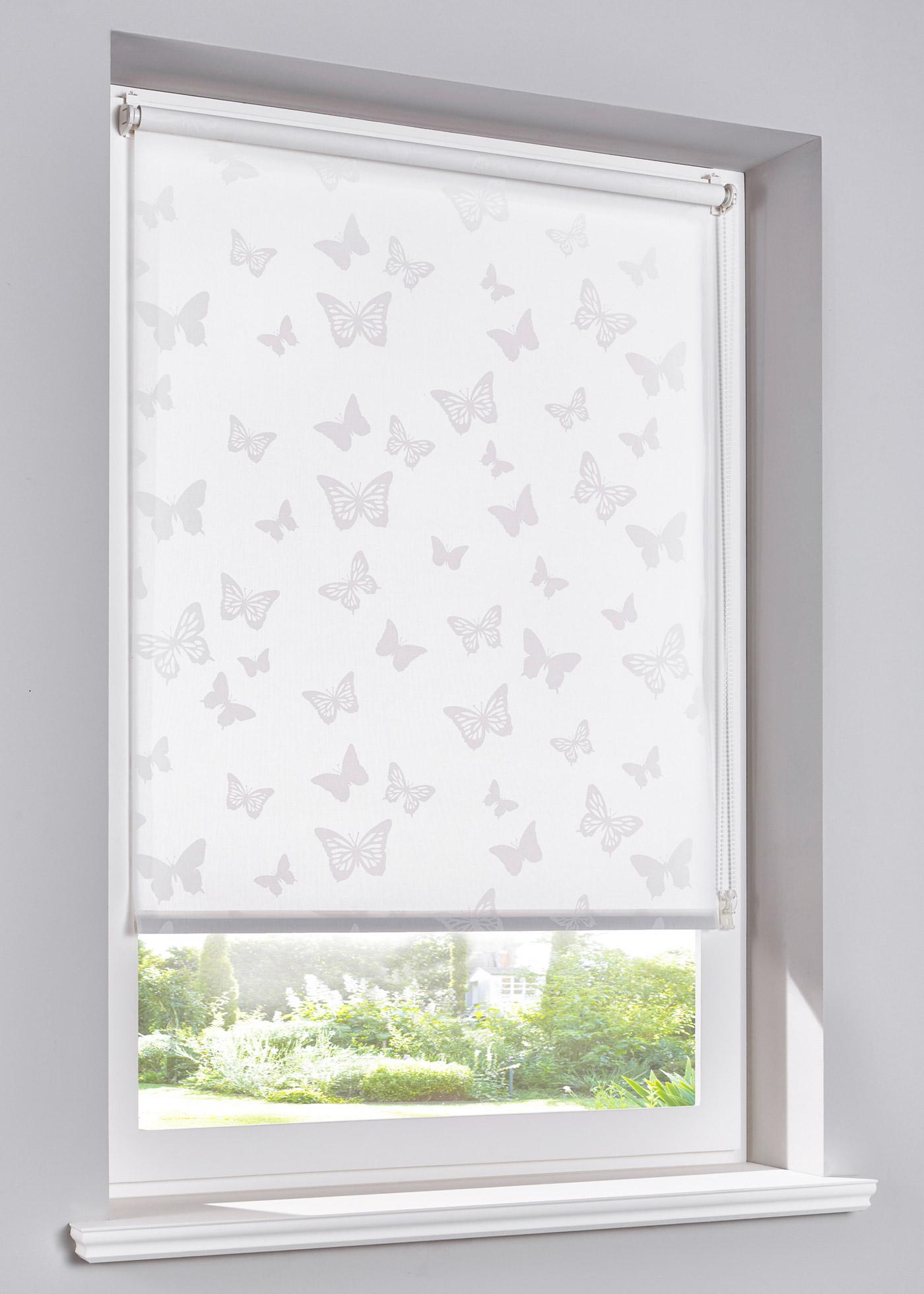 Sichtschutzrollo mit Schmetterlingen in weiß von bonprix