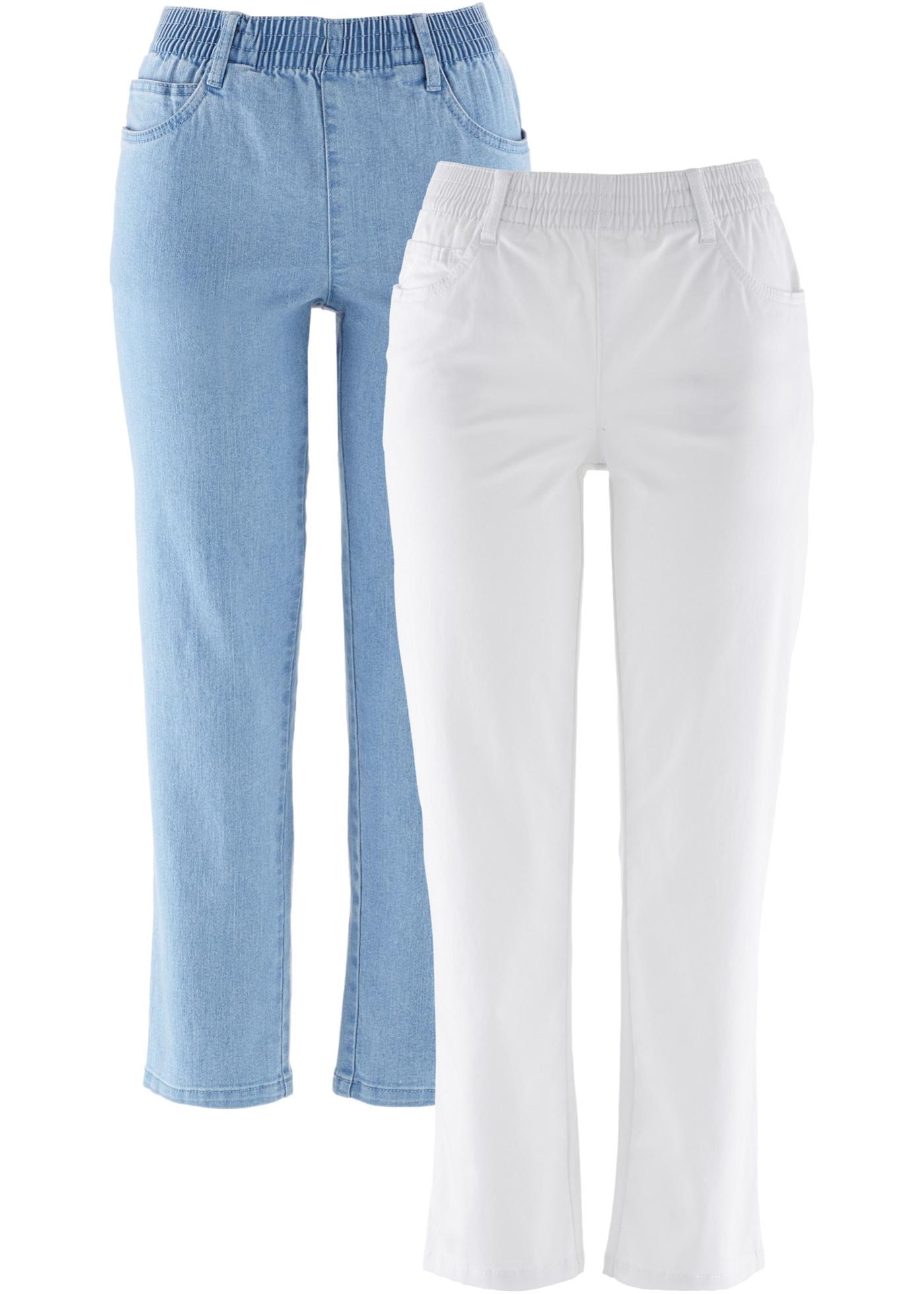 Hosen - 7 8 Komfort Stretch Hose mit Bequembund (2er Pack) › bonprix › weiß  - Onlineshop Bonprix