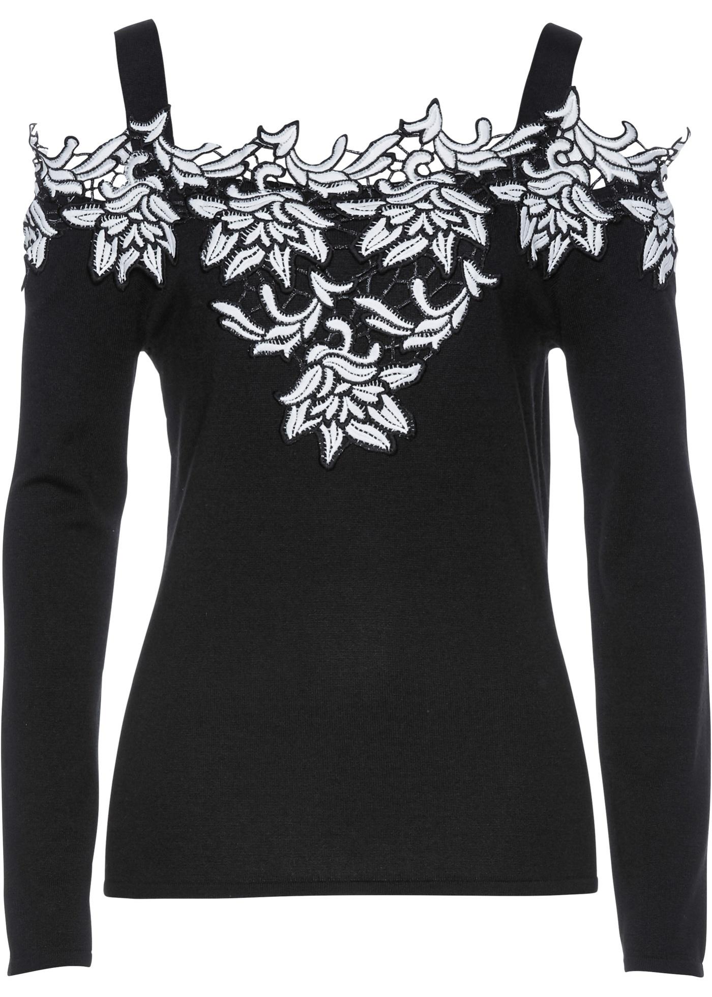 Premium Carmen-Pullover mit Applikation in schwarz für Damen von bonprix