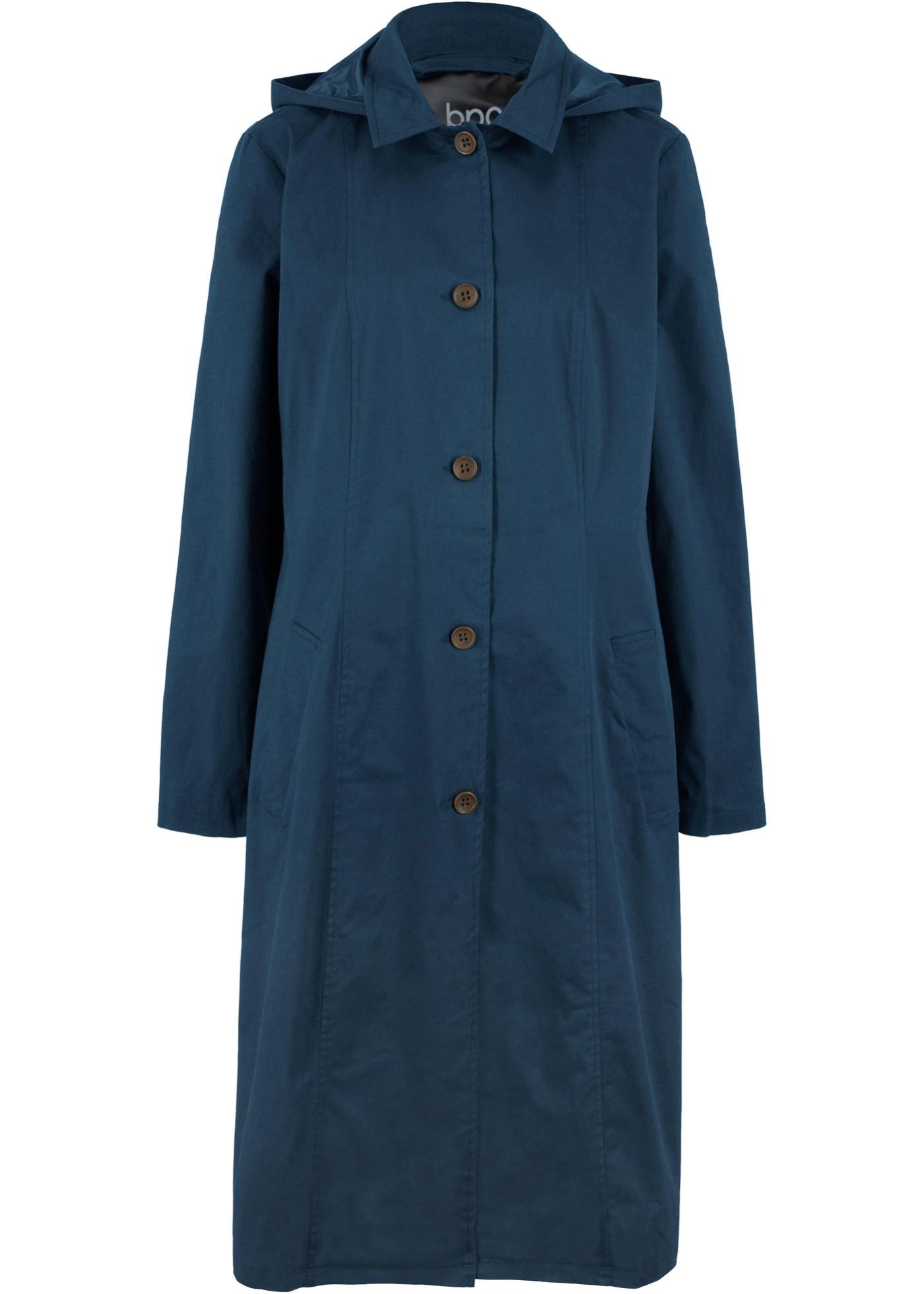 Mantel in Trench-Optik mit Kapuze langarm  in blau für Damen von bonprix