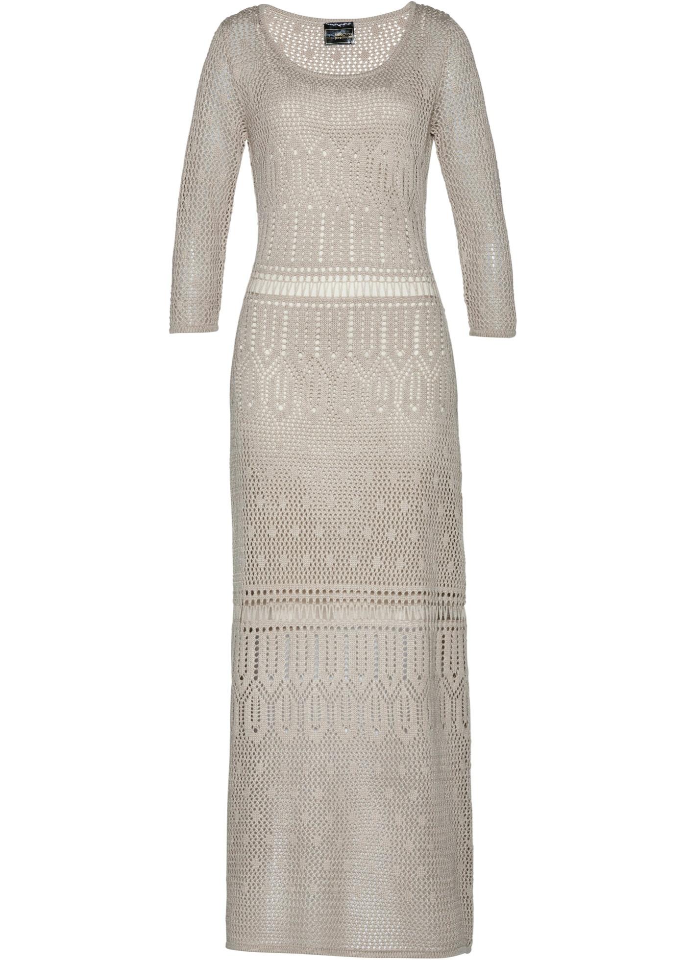 Premium Ajour-Kleid 3/4 Arm  in grau für Damen von bonprix