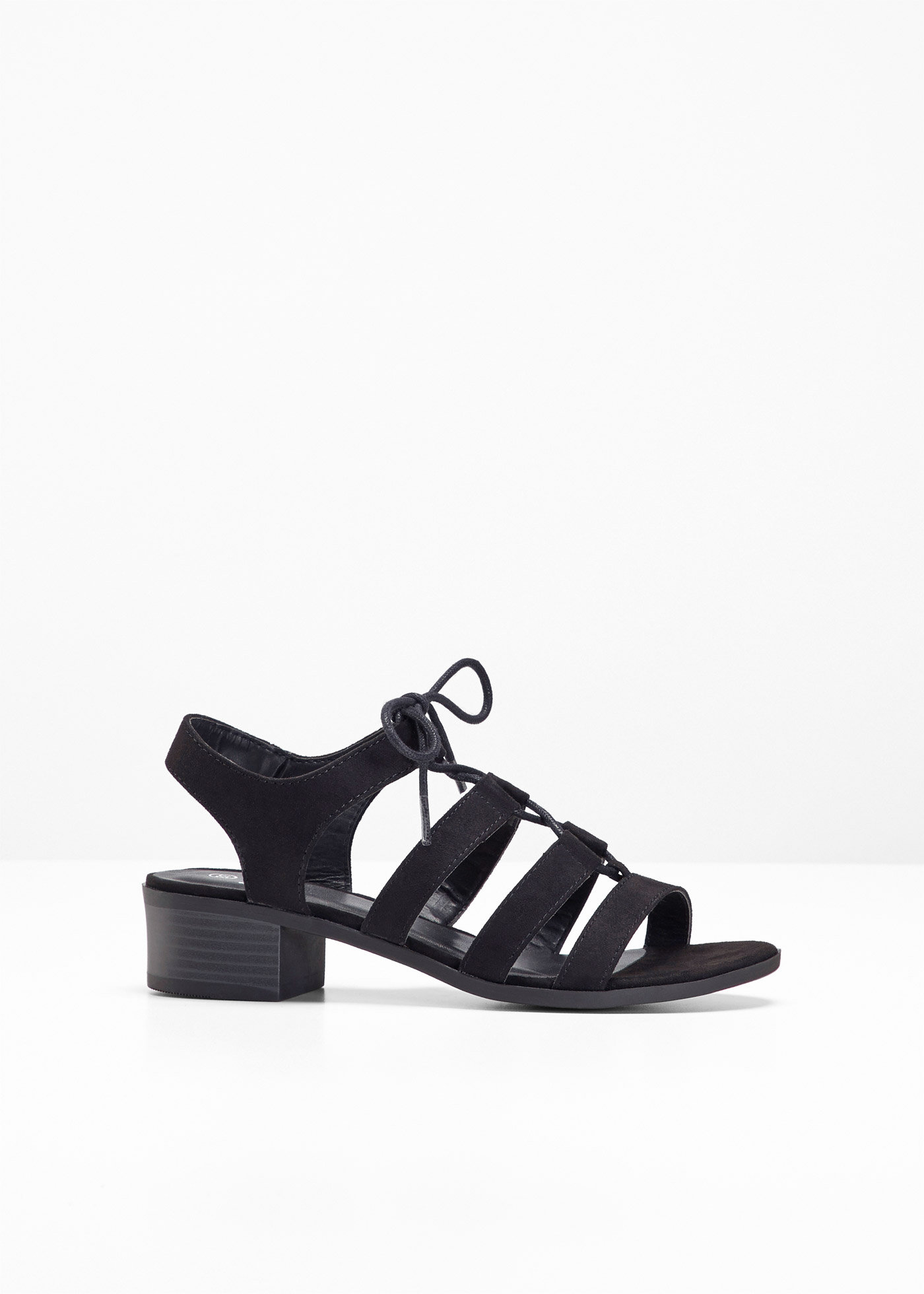 Sandalette mit 4 cm Blockabsatz in schwarz von bonprix