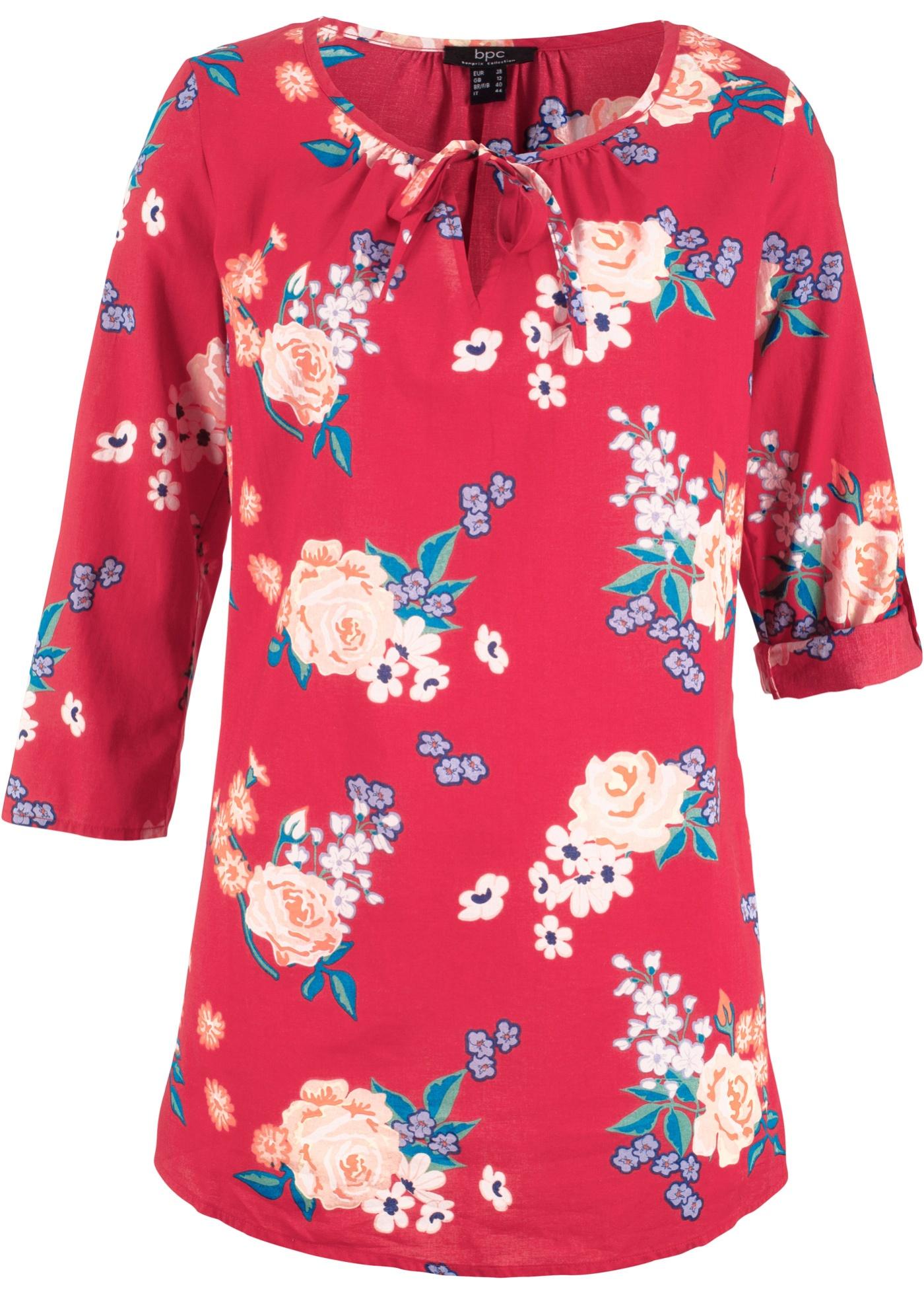 Blusentunika mit Blumendruck 3/4 Arm  in rot für Damen von bonprix