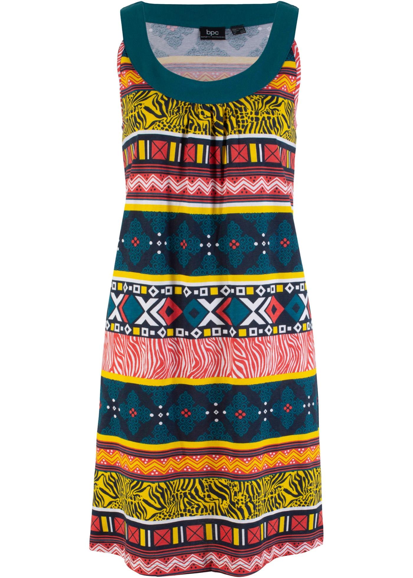 Jerseykleid aus Baumwolle ohne Ärmel  in petrol für Damen von bonprix