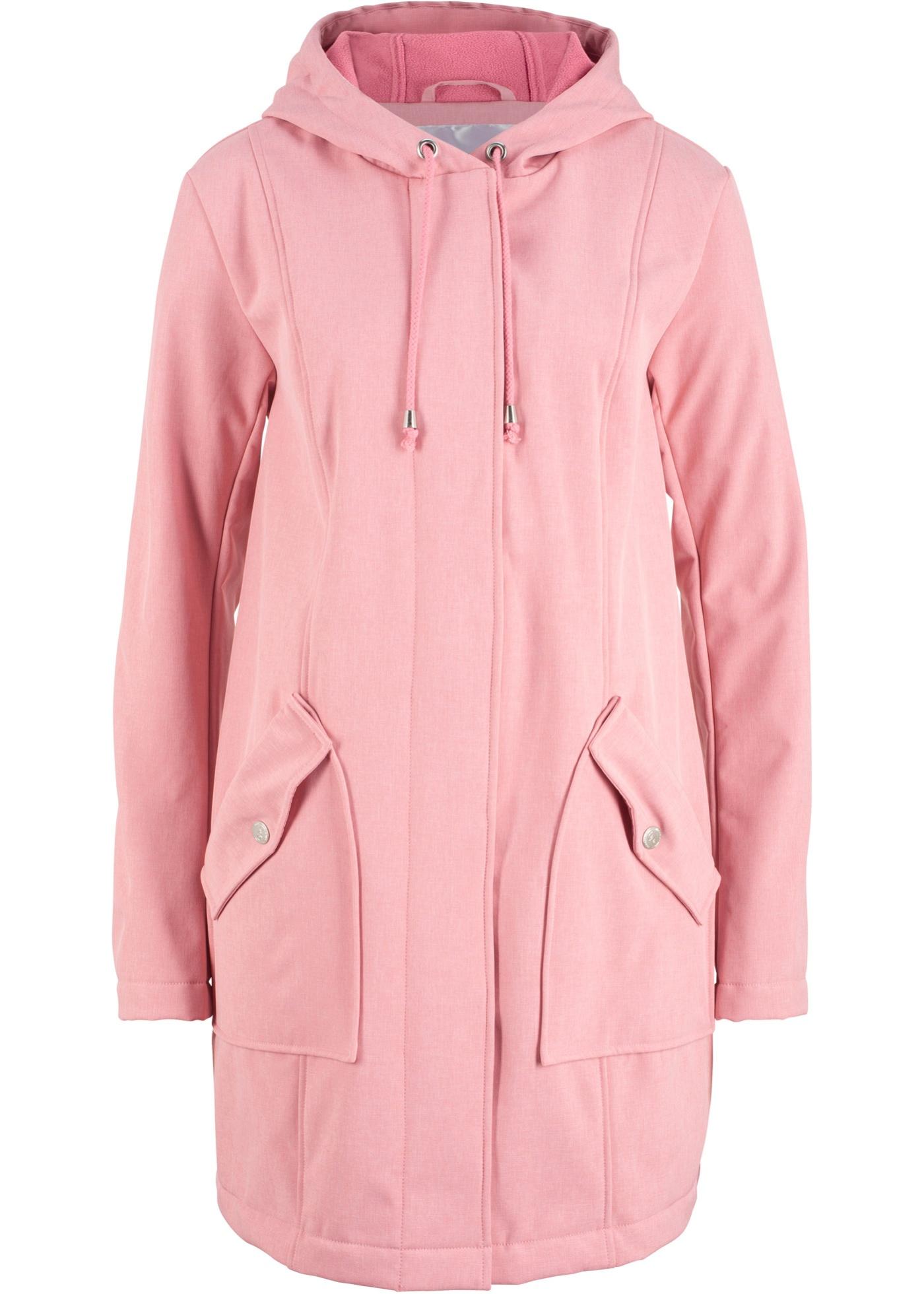 Softshell-Parka mit Kapuze langarm  in rosa für Damen von bonprix