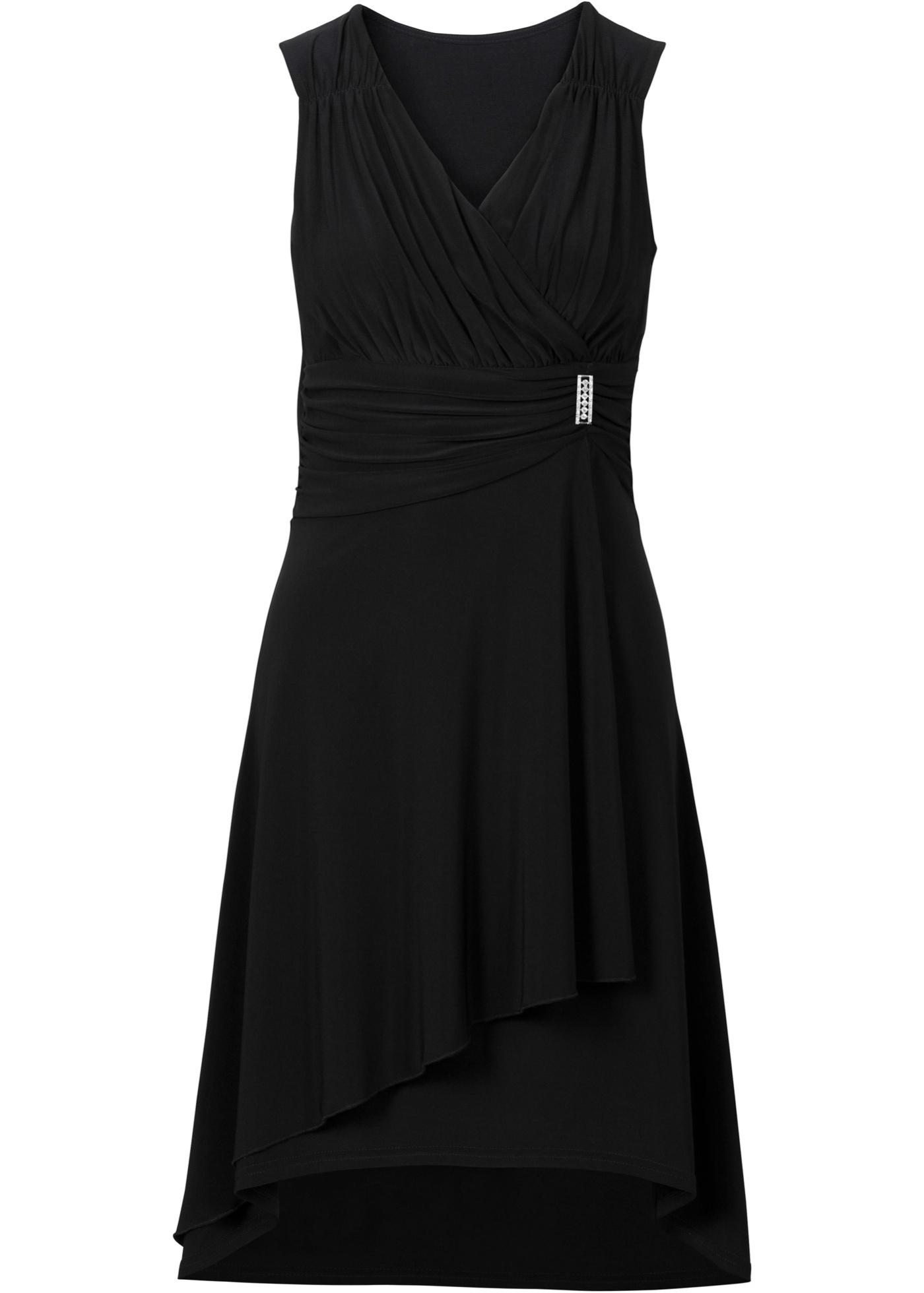Jerseykleid mit Applikation ohne Ärmel  in schwarz für Damen von bonprix