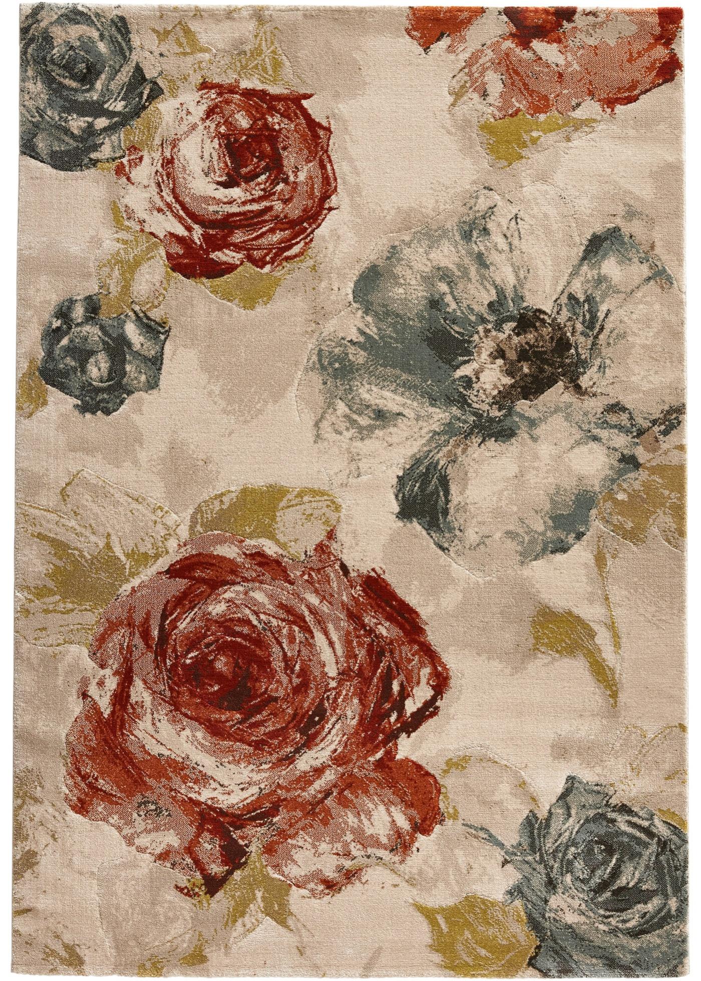Teppich mit Blumen in beige von bonprix