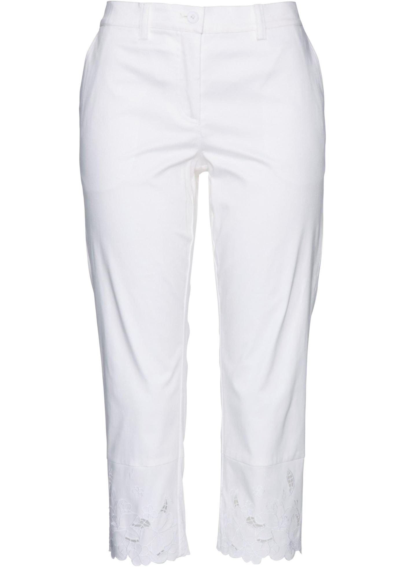 Premium 3/4-Hose mit Spitze in weiß für Damen von bonprix