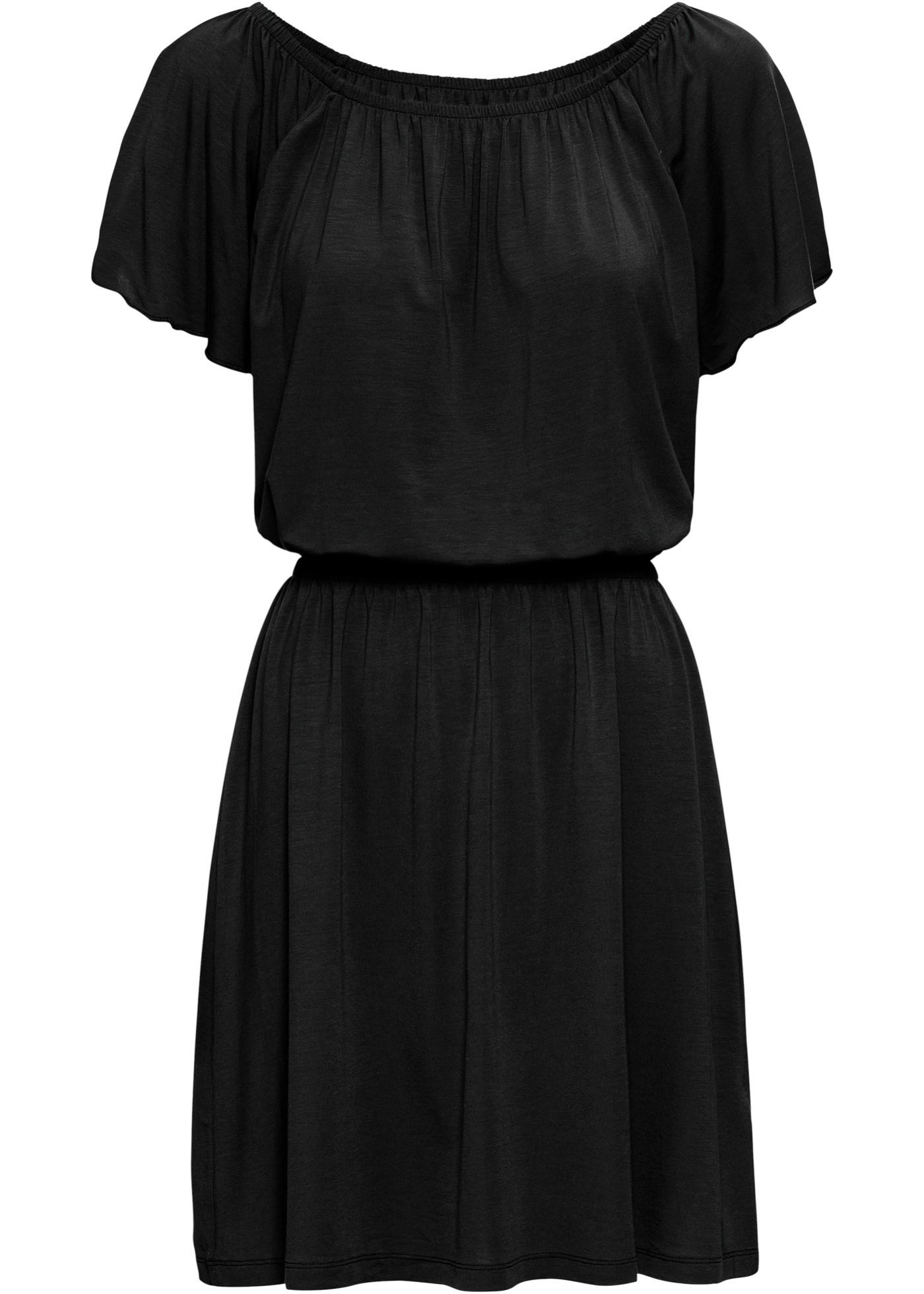 Shirtkleid kurzer Arm  in schwarz (Carmen-Ausschnitt) für Damen von bonprix