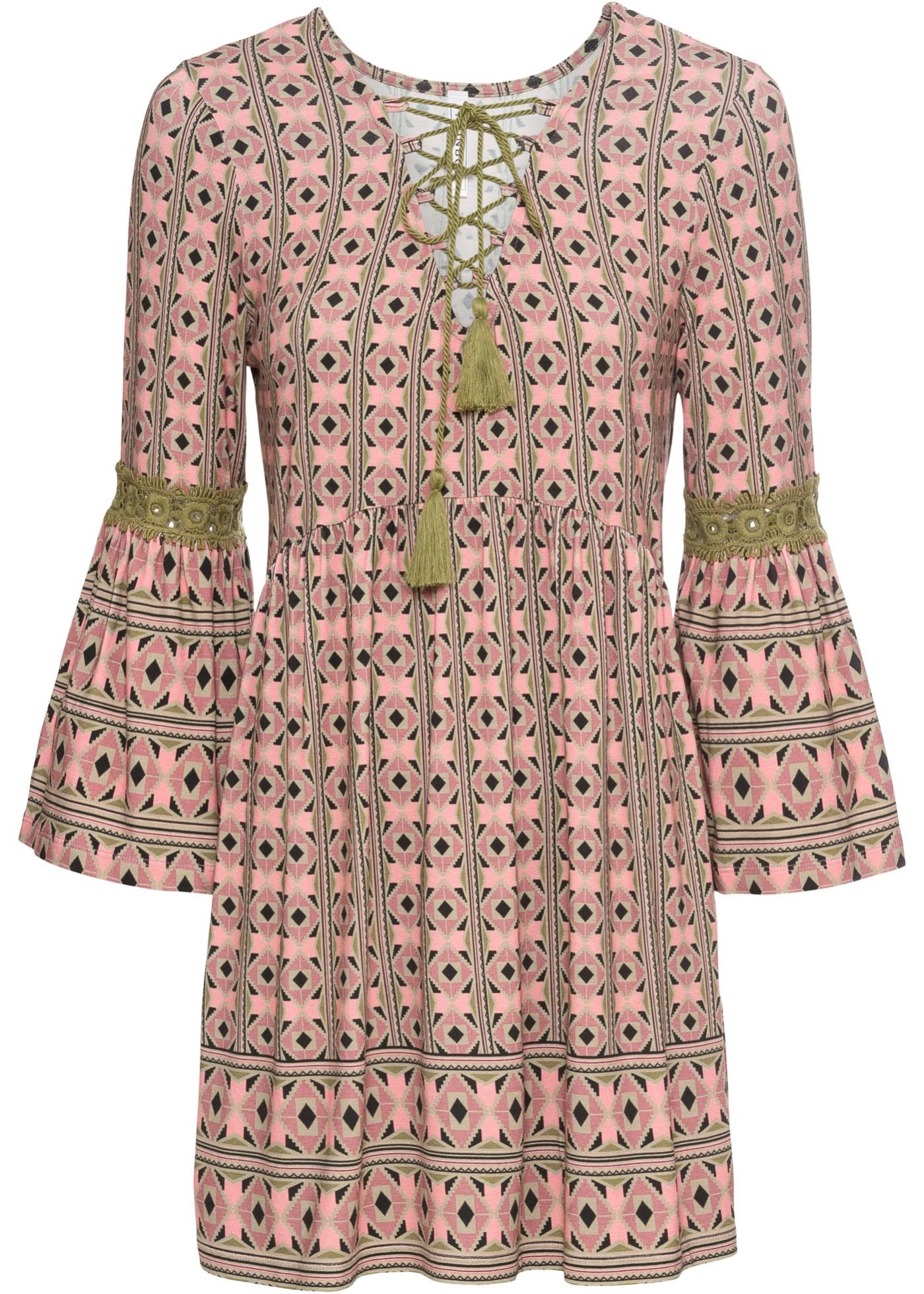 Shirt- Tunika 3/4 Arm  in rosa für Damen von bonprix