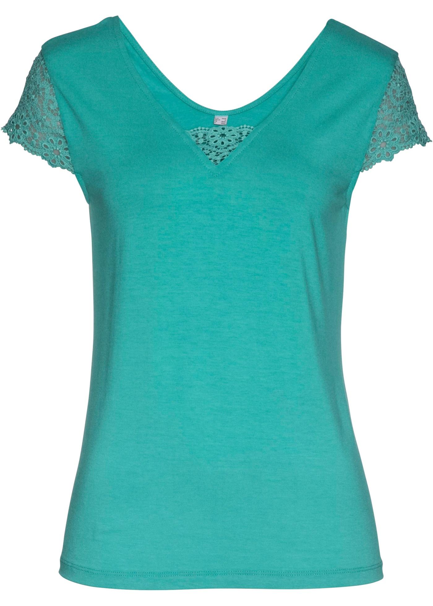 Shirt mit Spitze kurzer Arm  in grün für Damen von bonprix