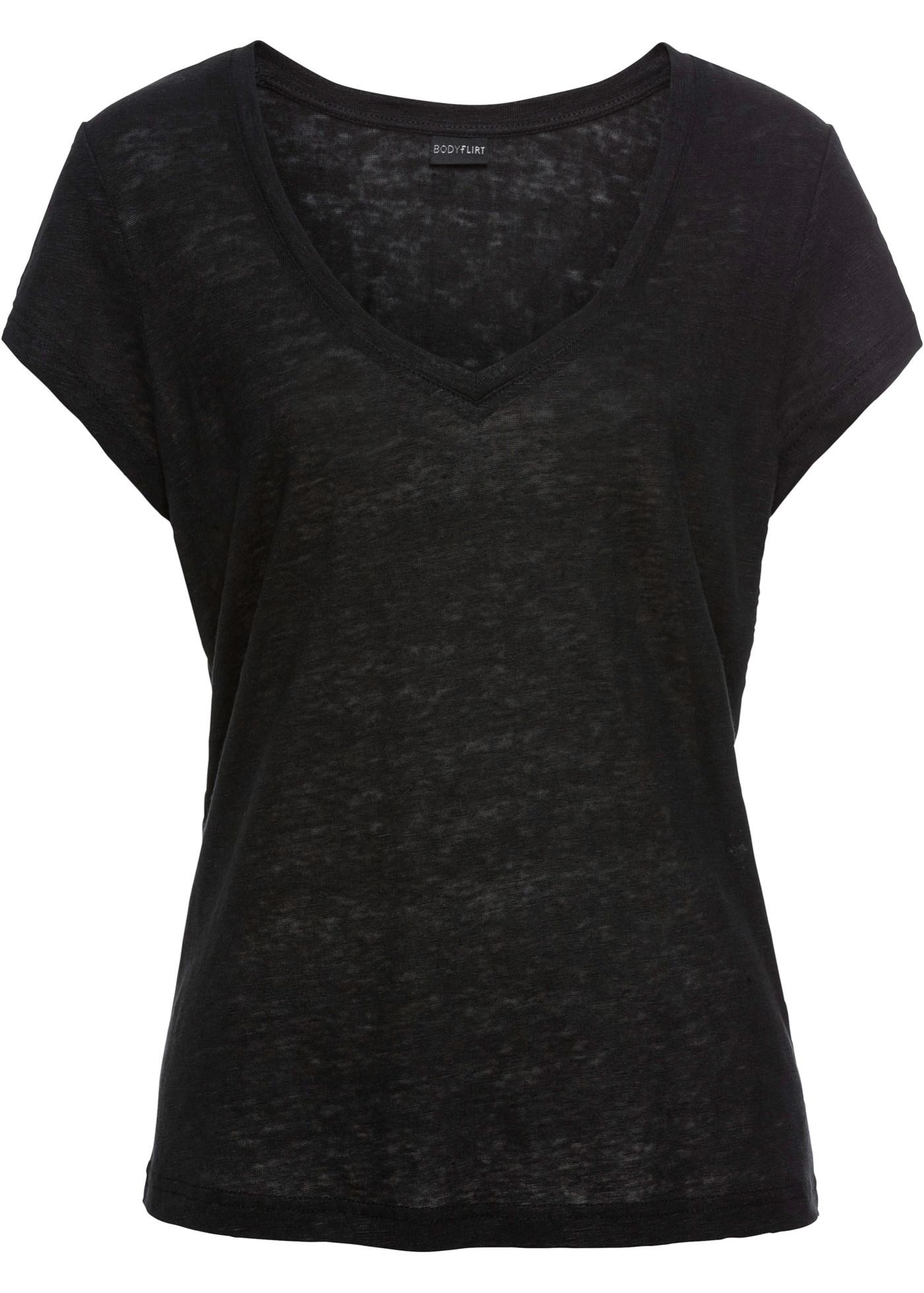 Leinenshirt kurzer Arm  in schwarz für Damen von bonprix