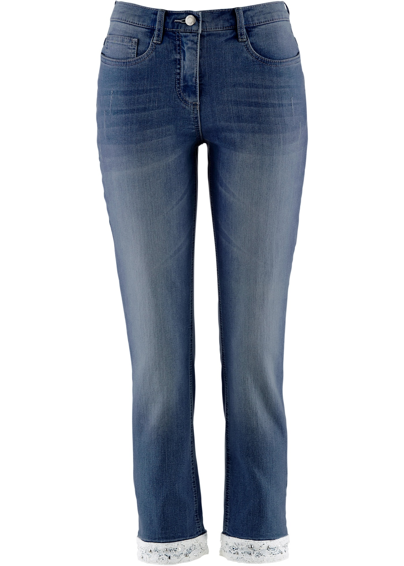Stretch-7/8-Jeans mit Stickerei