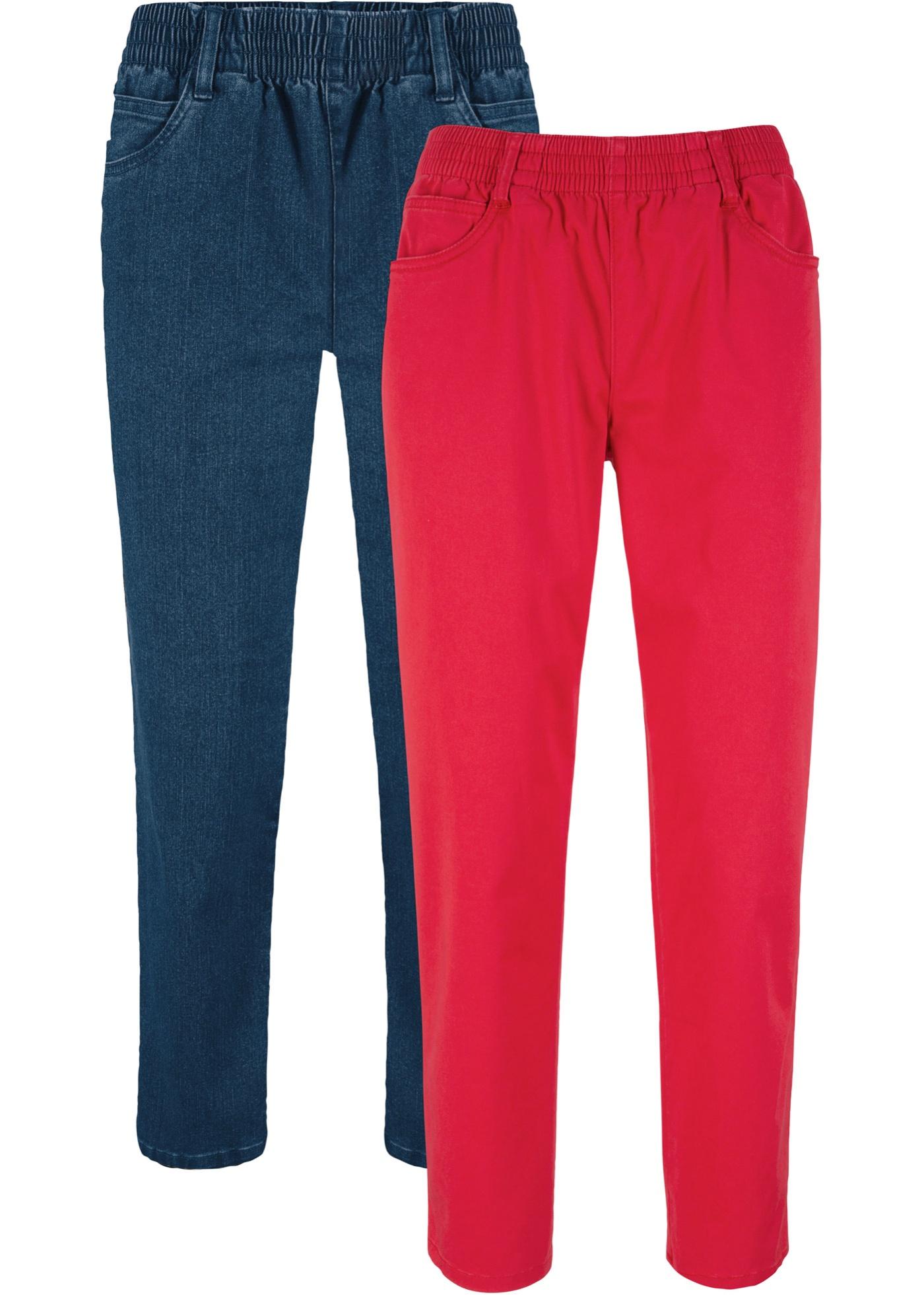 7/8-Stretch-Hose mit Bequembund (2er-Pack) in rot für Damen von bonprix