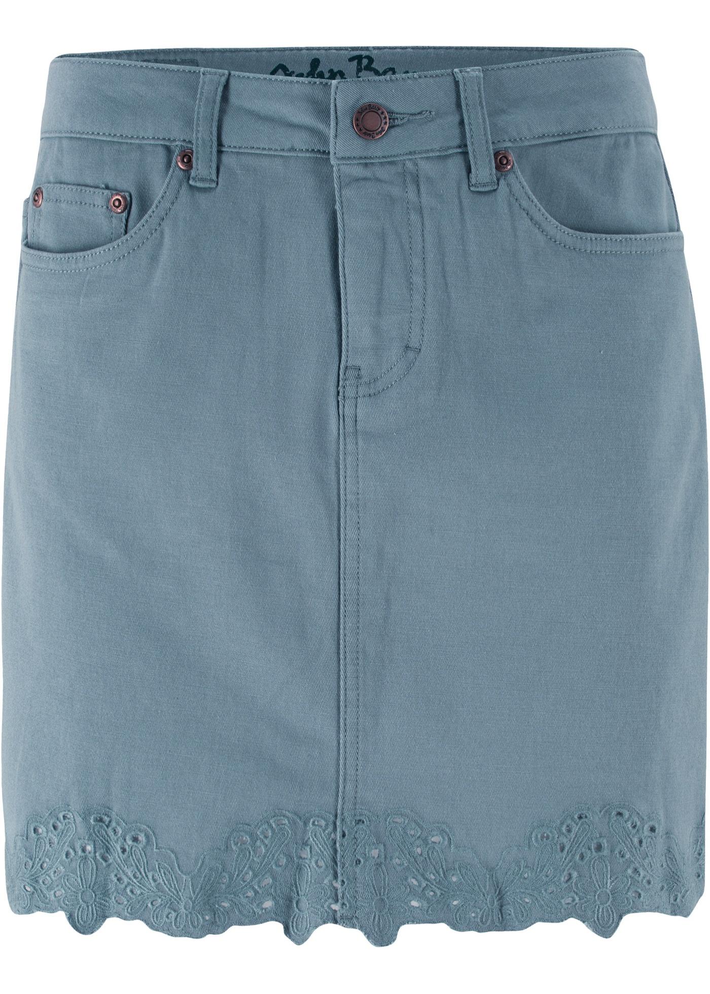 Stretch-Jeansrock in grau für Damen von bonprix