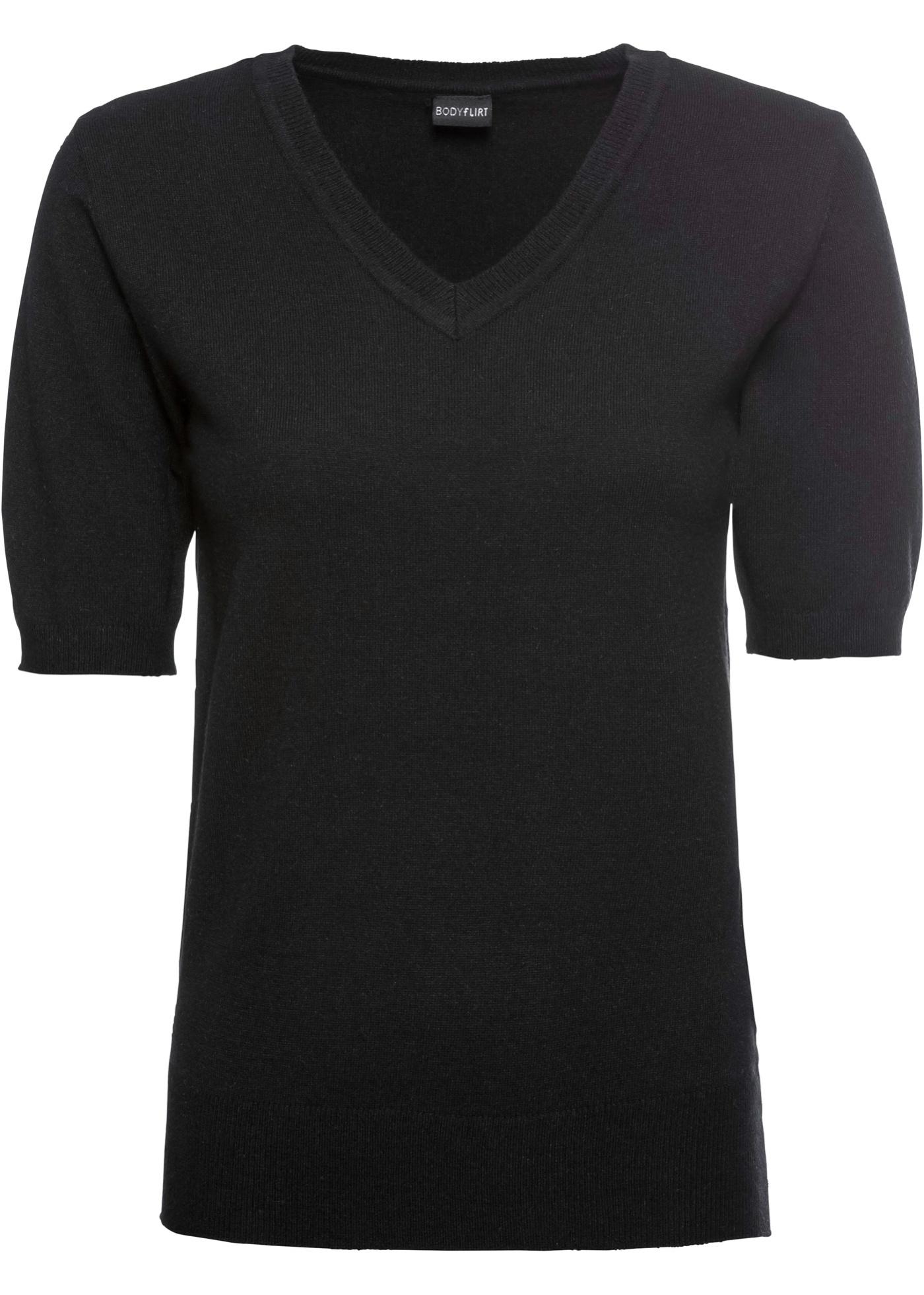 V-Pullover mit halblangen Ärmeln