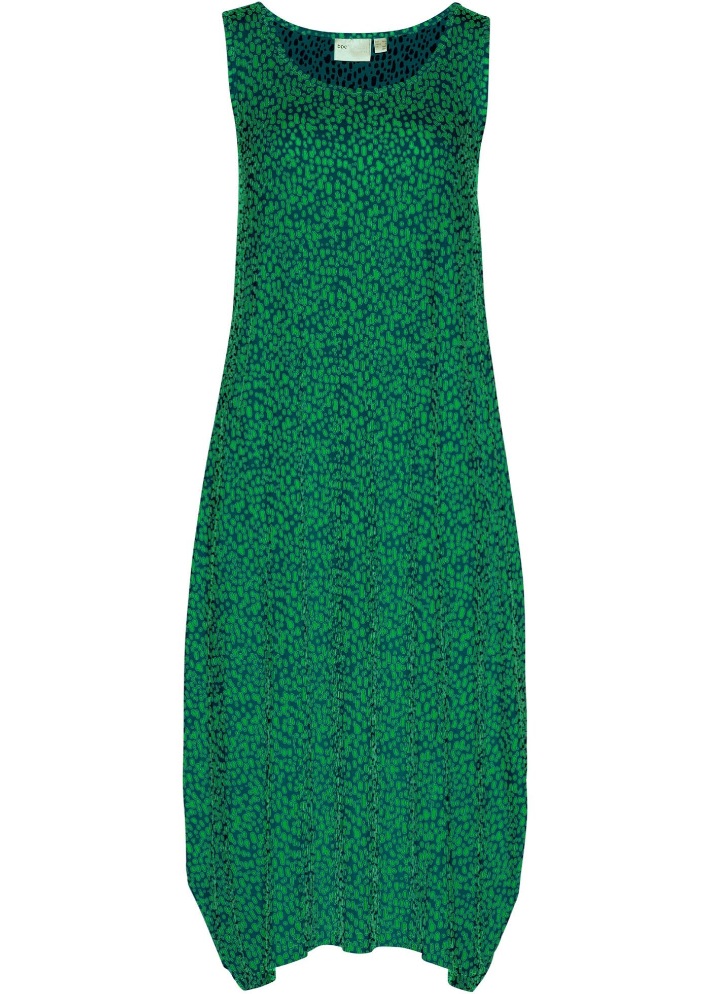 Bedrucktes Jersey-Midikleid ohne Ärmel  in blau für Damen von bonprix