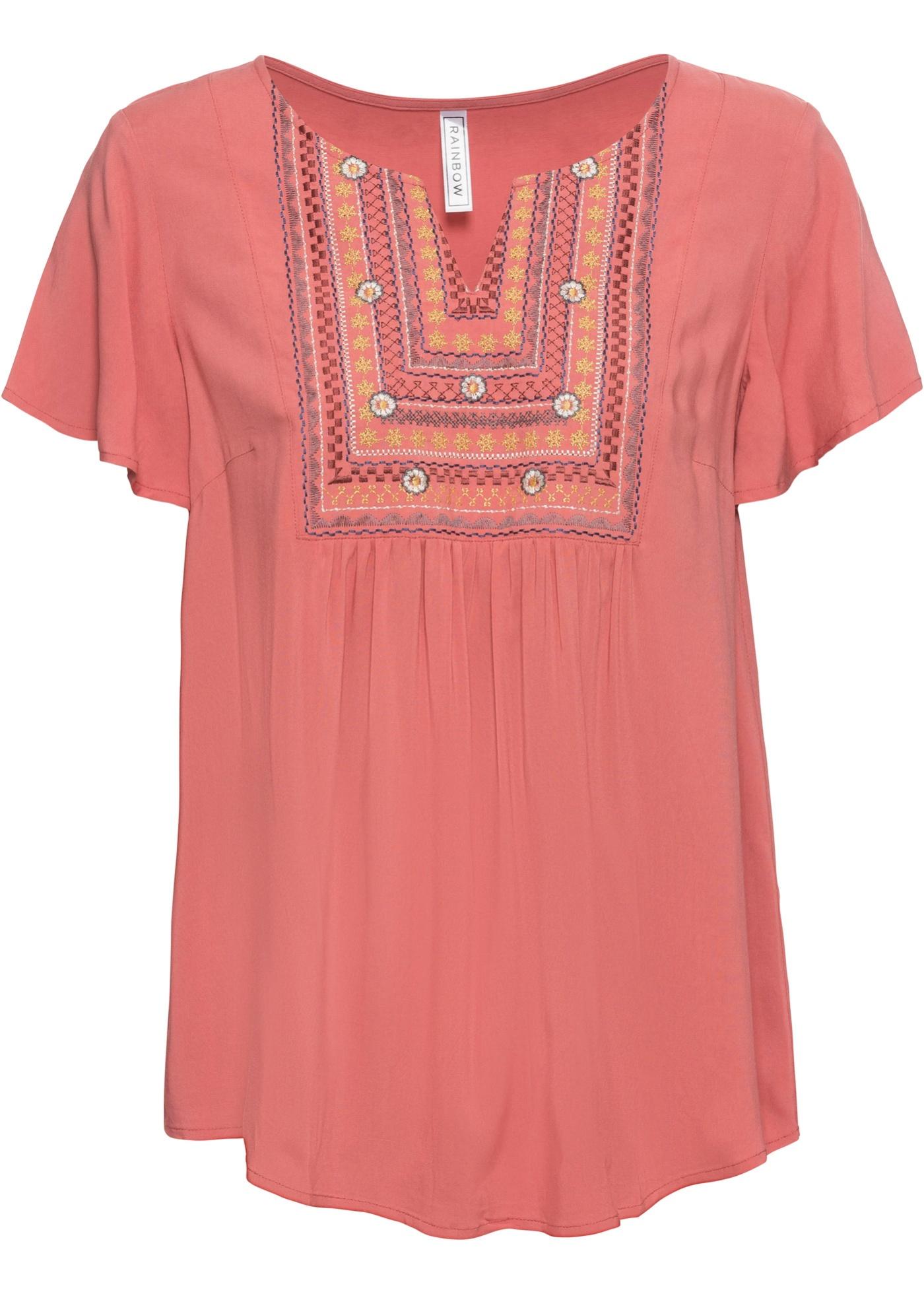 Tunika kurzer Arm  in rosa (V-Ausschnitt) für Damen von bonprix