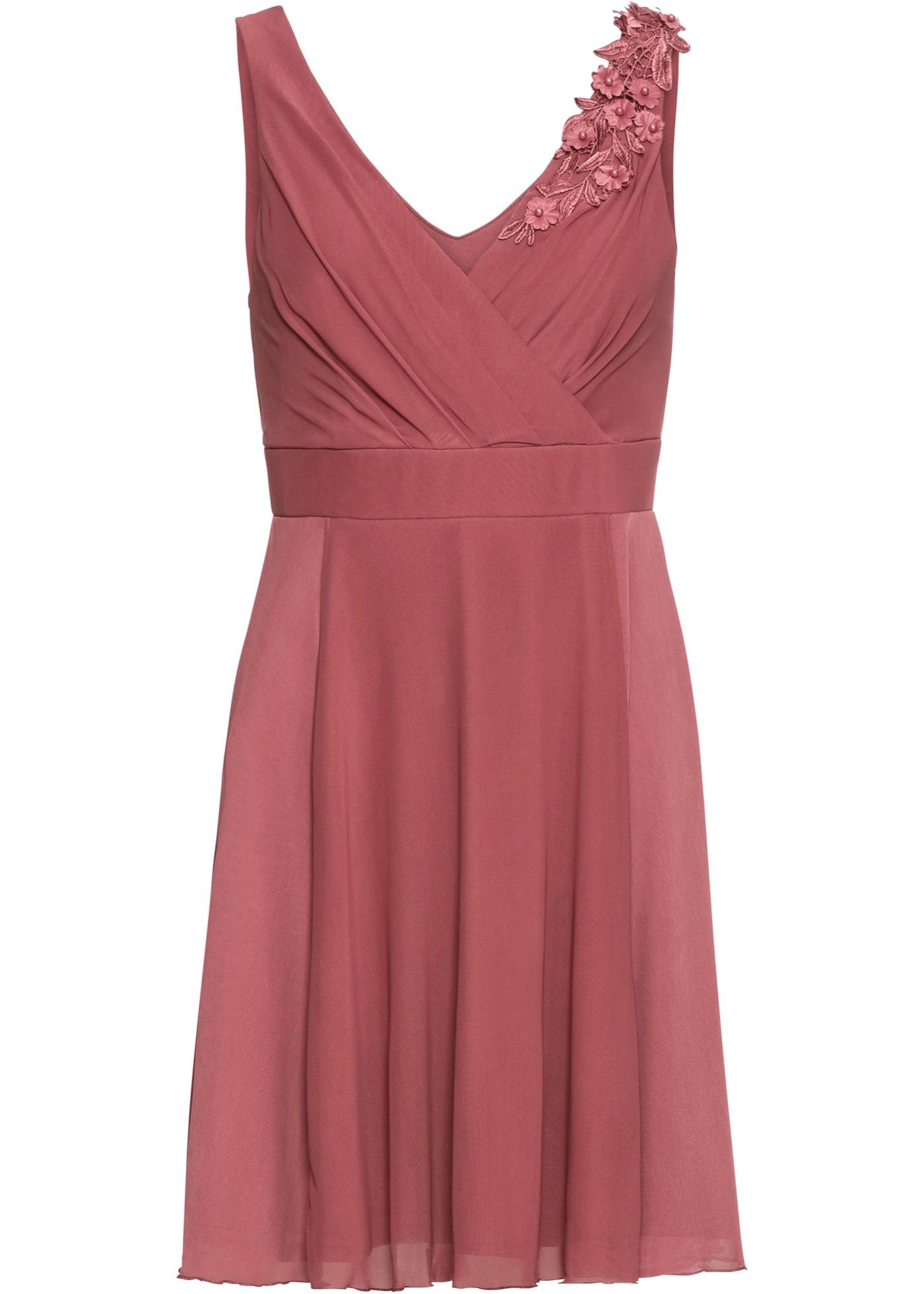 Jerseykleid mit Spitzenapplikation ohne Ärmel  in lila für Damen von bonprix