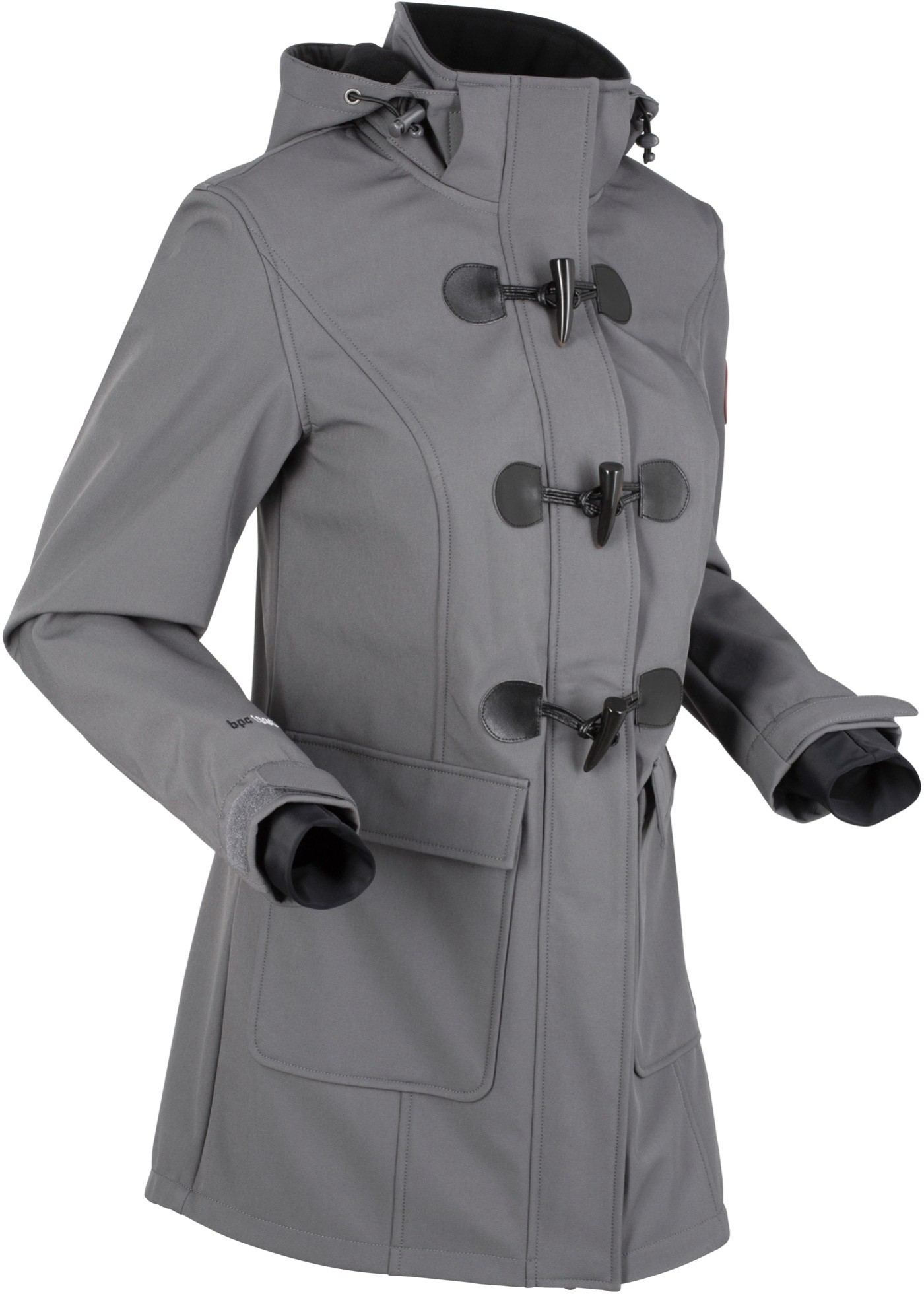 Softshell-Duffle-Jacke langarm  in grau für Damen von bonprix