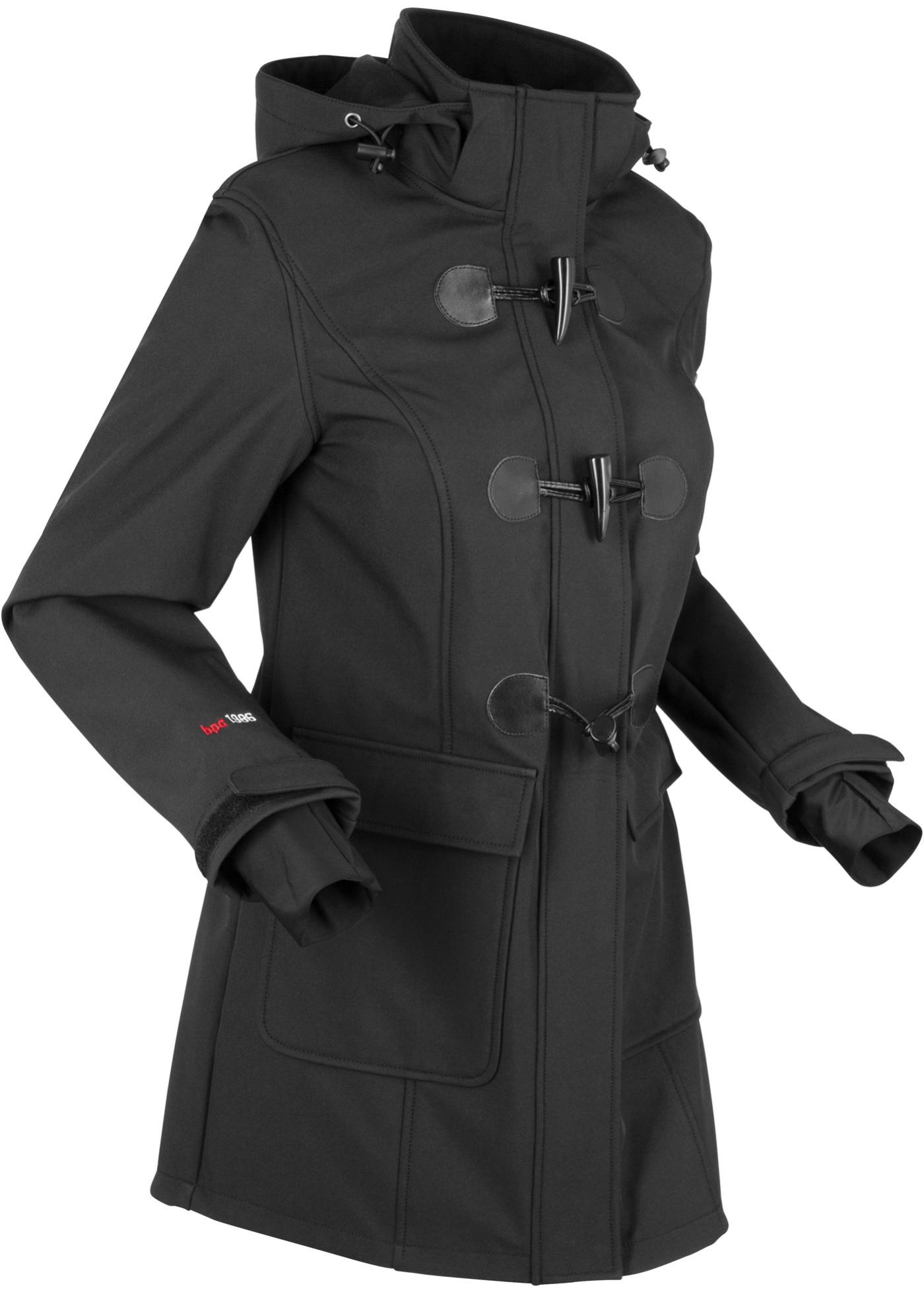 Softshell-Duffle-Jacke langarm  in schwarz für Damen von bonprix