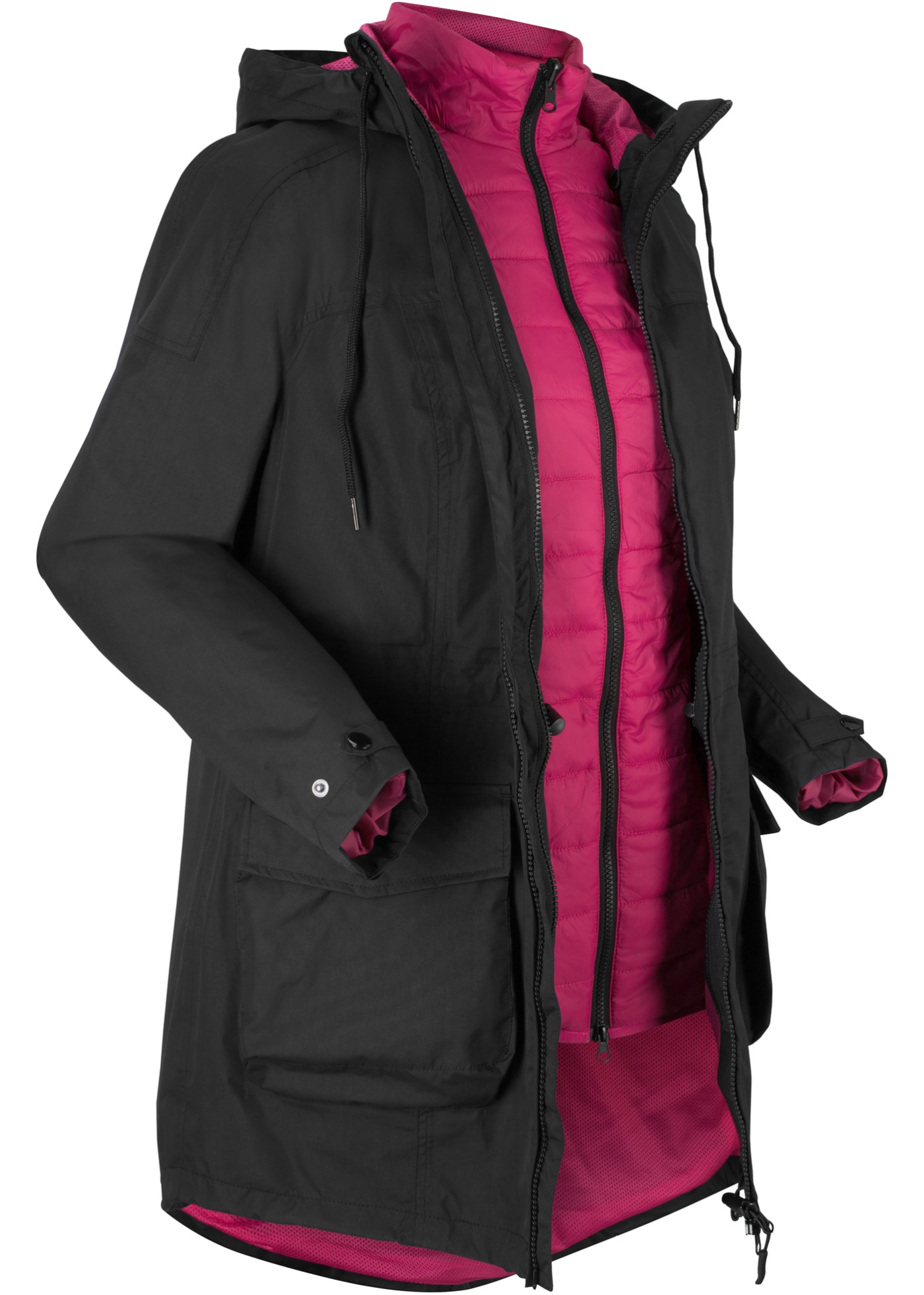 Funktions-Outdoor-3 in 1 Jacke mit Steppweste