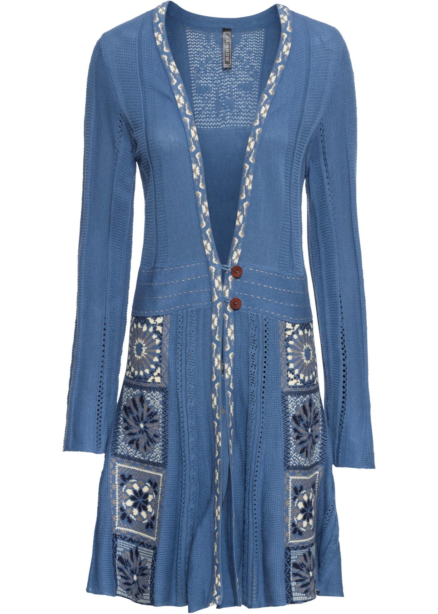 Longstrickjacke langarm  in blau für Damen von bonprix