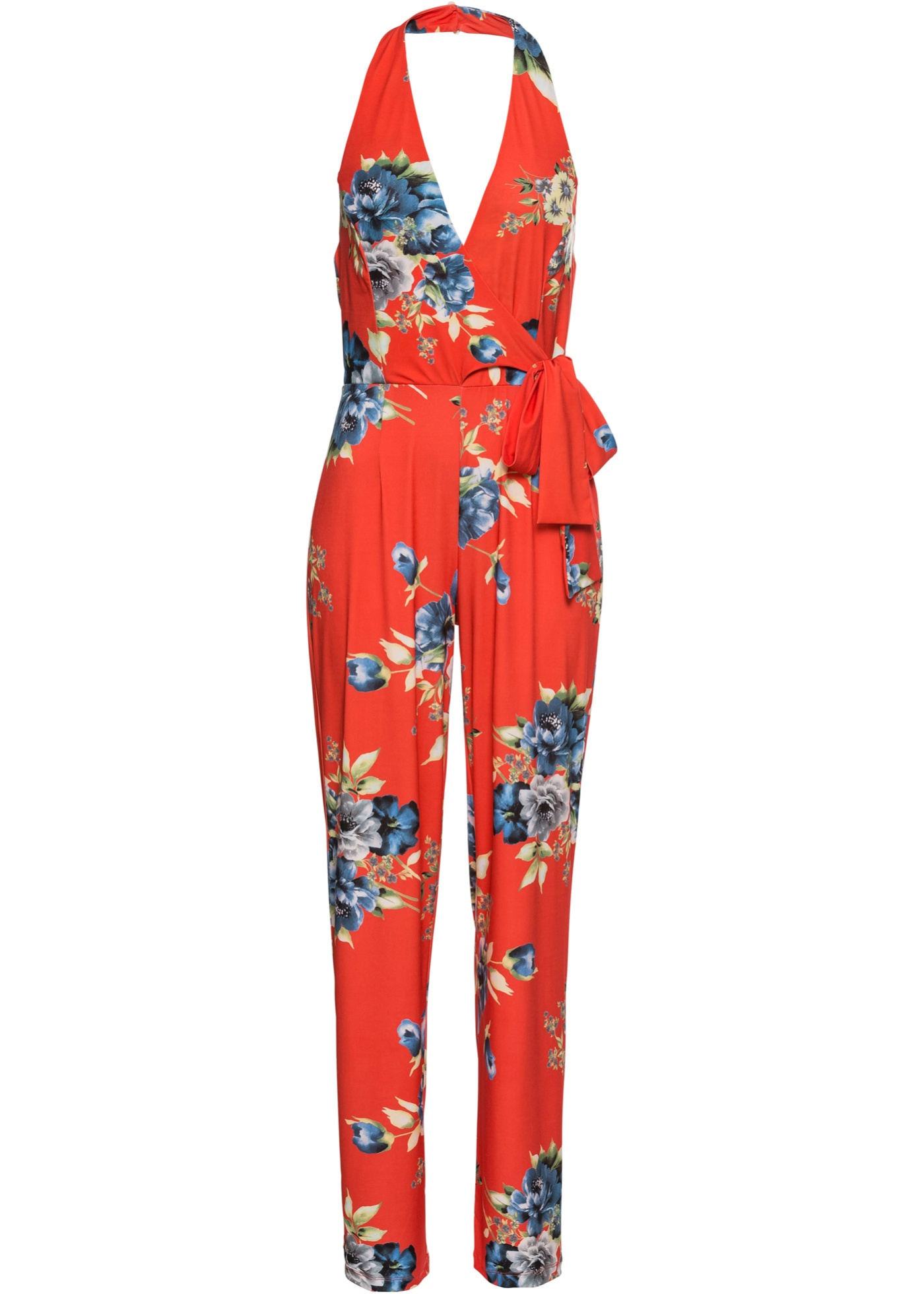 Neckholder-Jumpsuit mit Alloverprint ohne Ärmel  in orange für Damen von bonprix
