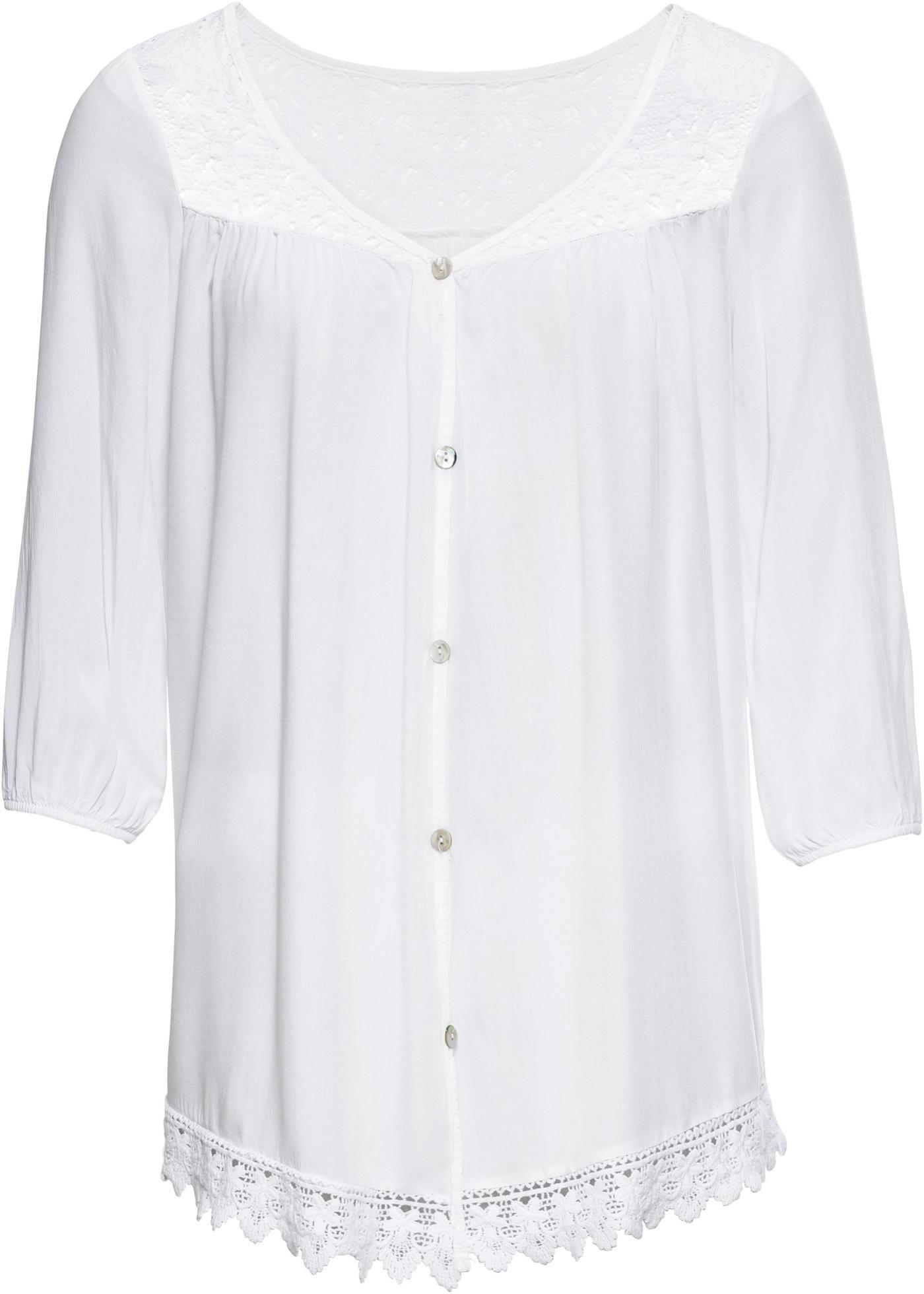 Bluse mit Spitze 3/4 Arm  in weiß für Damen von bonprix