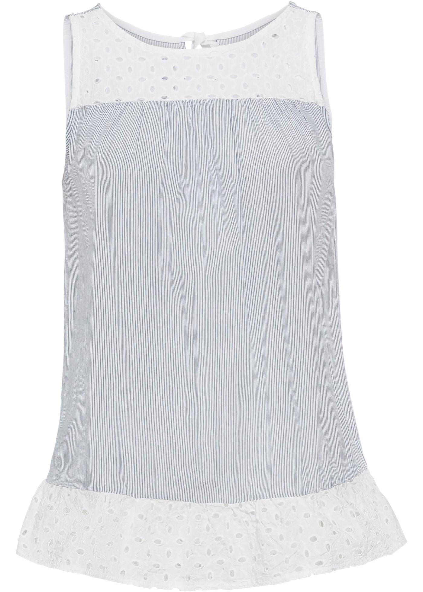 Blusentop mit Lochstickerei ohne Ärmel  in weiß für Damen von bonprix