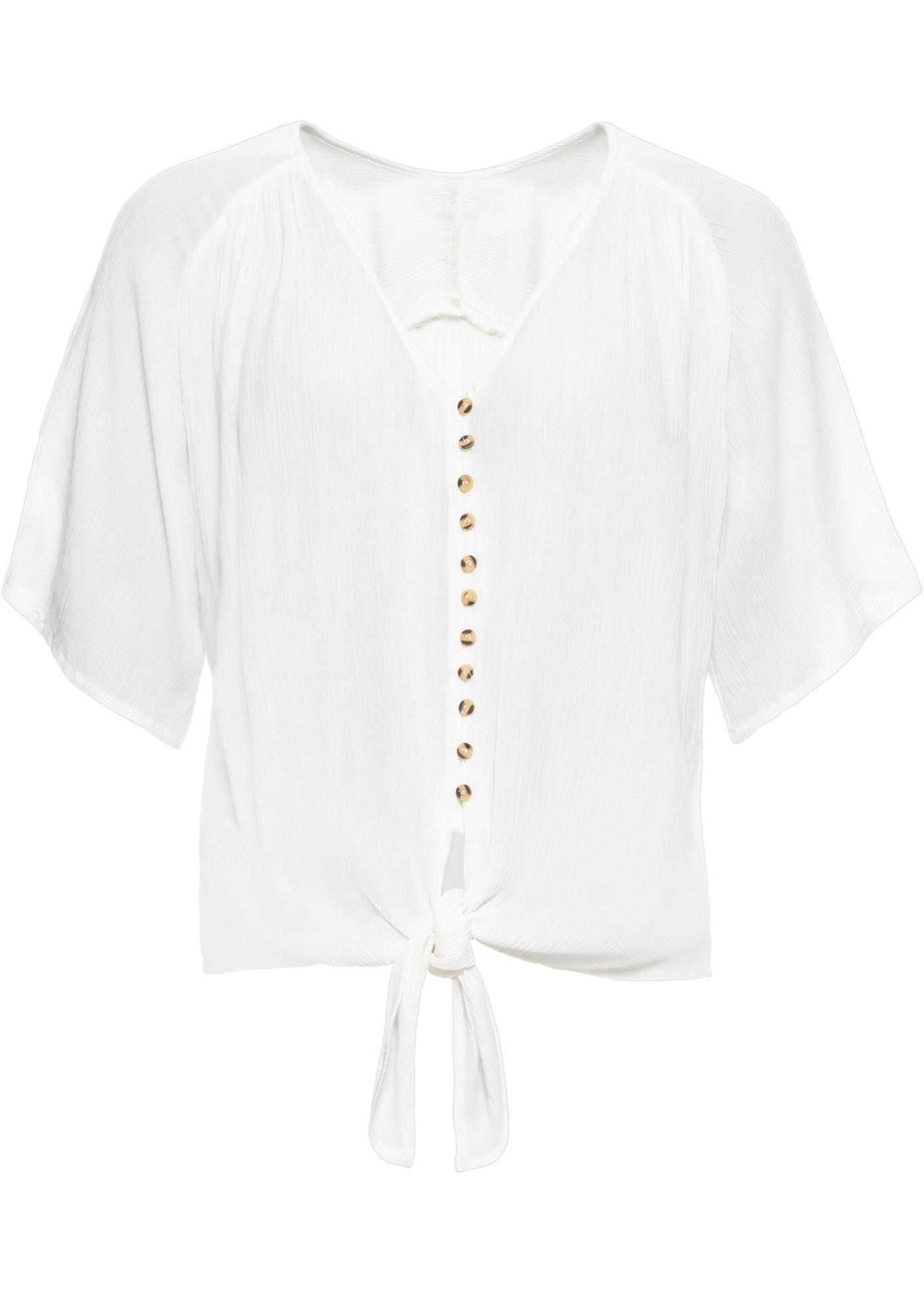 Bluse mit Knoten kurzer Arm  in weiß für Damen von bonprix